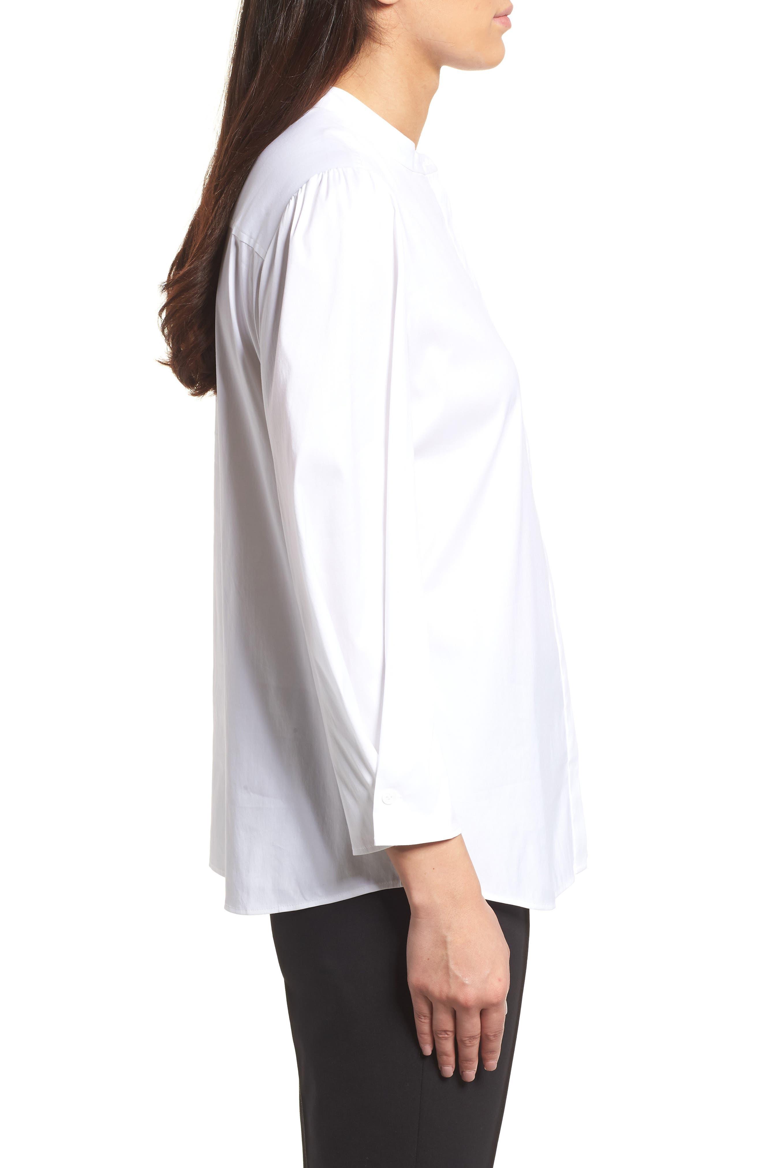 Stretch Poplin Shirt,                             Alternate thumbnail 3, color,                             White