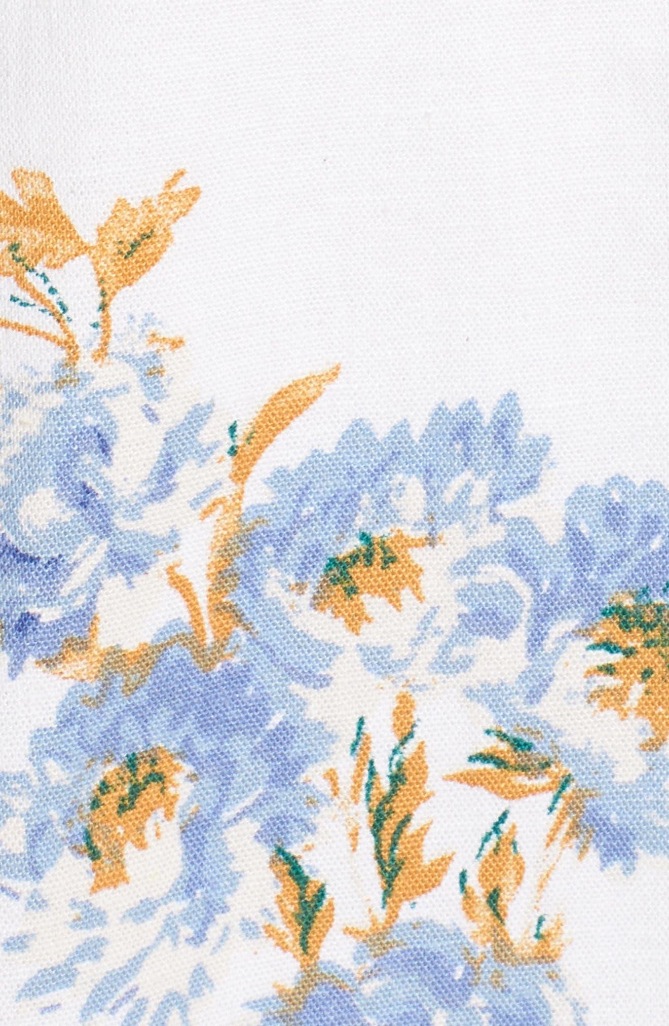 Modena Lace-Up Minidress,                             Alternate thumbnail 5, color,                             Ivory Floral