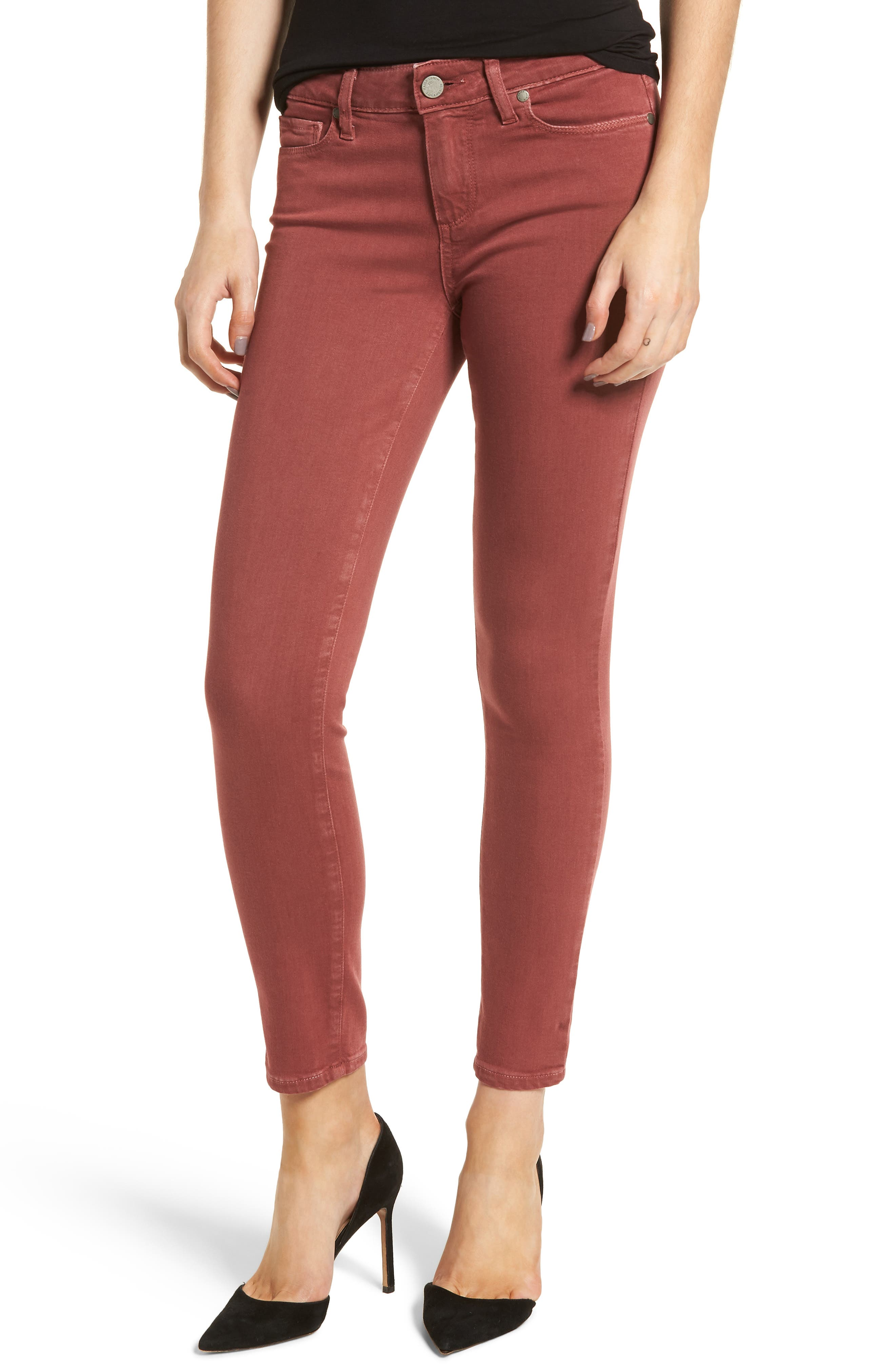 Alternate Image 1 Selected - PAIGE Verdugo Ankle Ultra Skinny Jeans (Vintage Dark Rose)