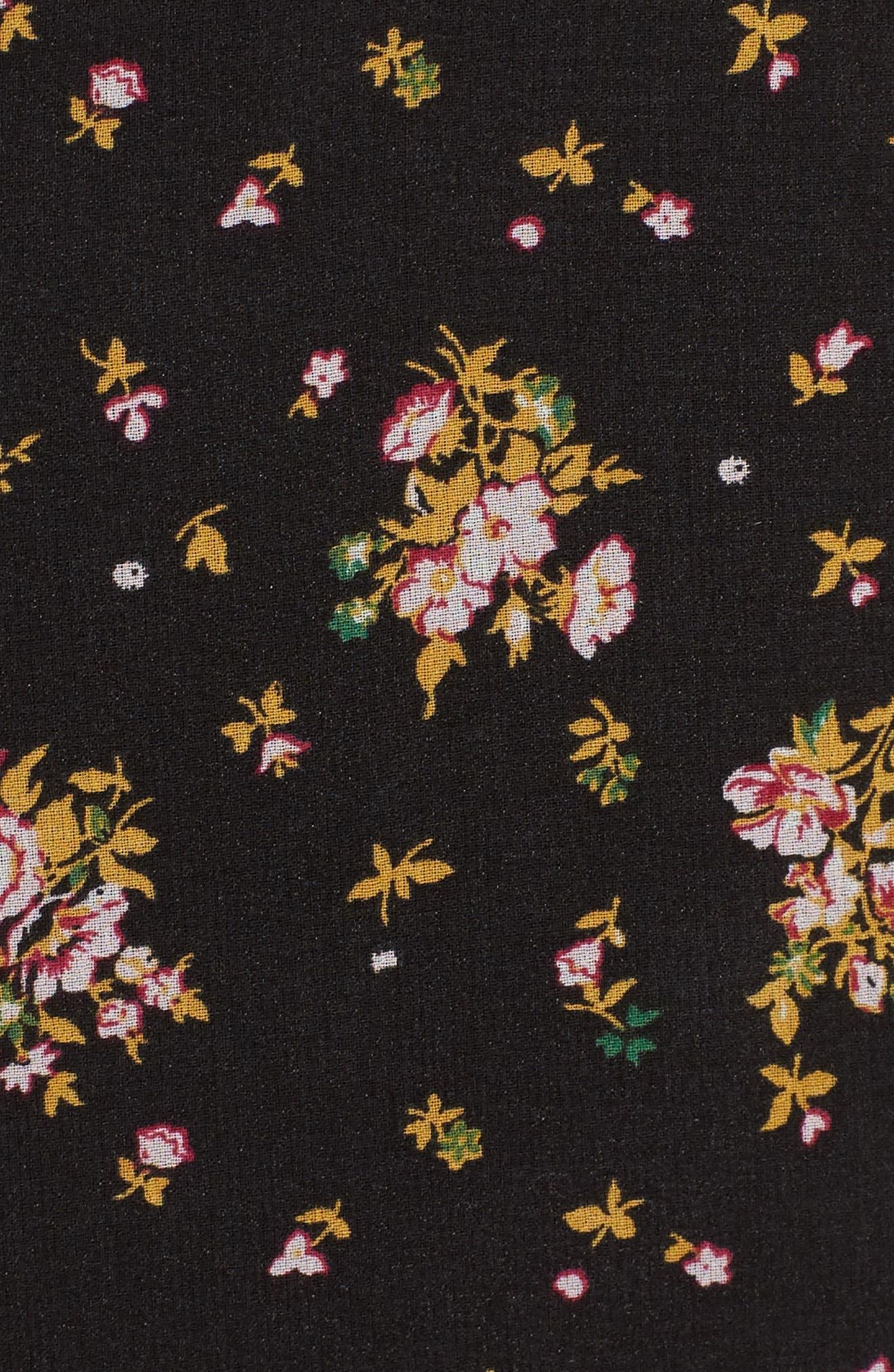 Tie Front Midi Dress,                             Alternate thumbnail 5, color,                             Black Ditzy Floral