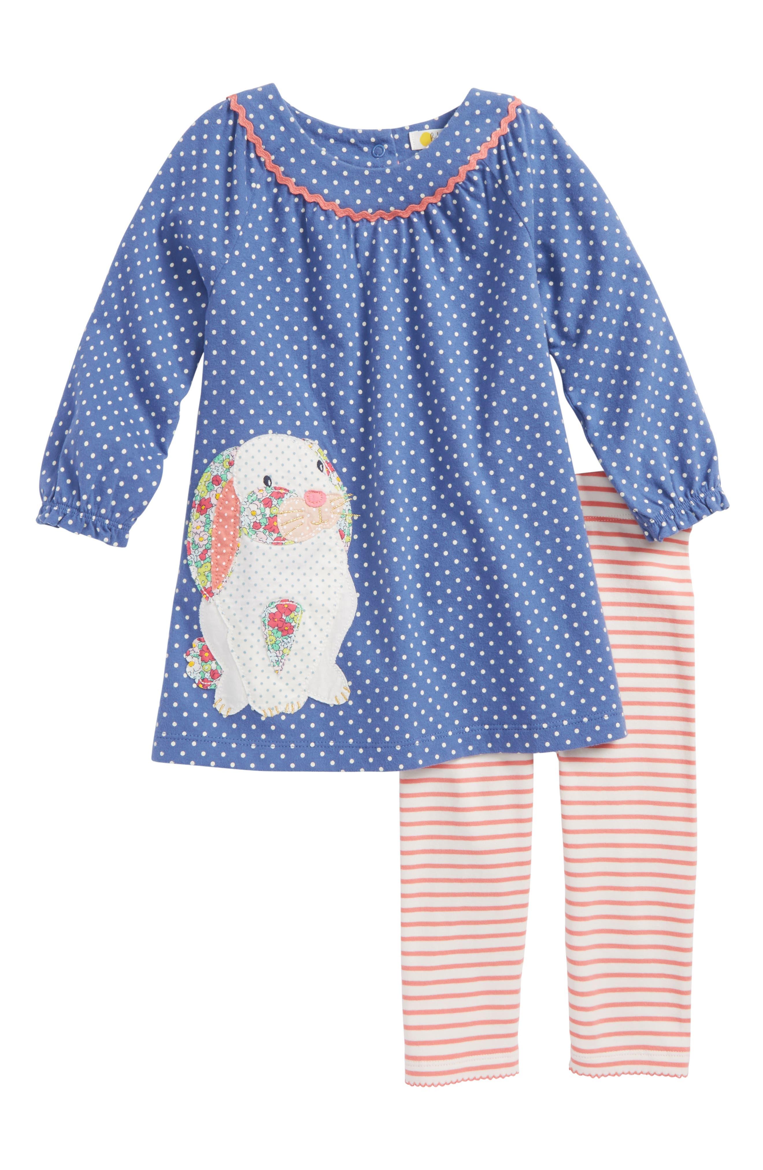 Mini Boden Appliqué Dress & Leggings Set (Baby Girls & Toddler Girls)