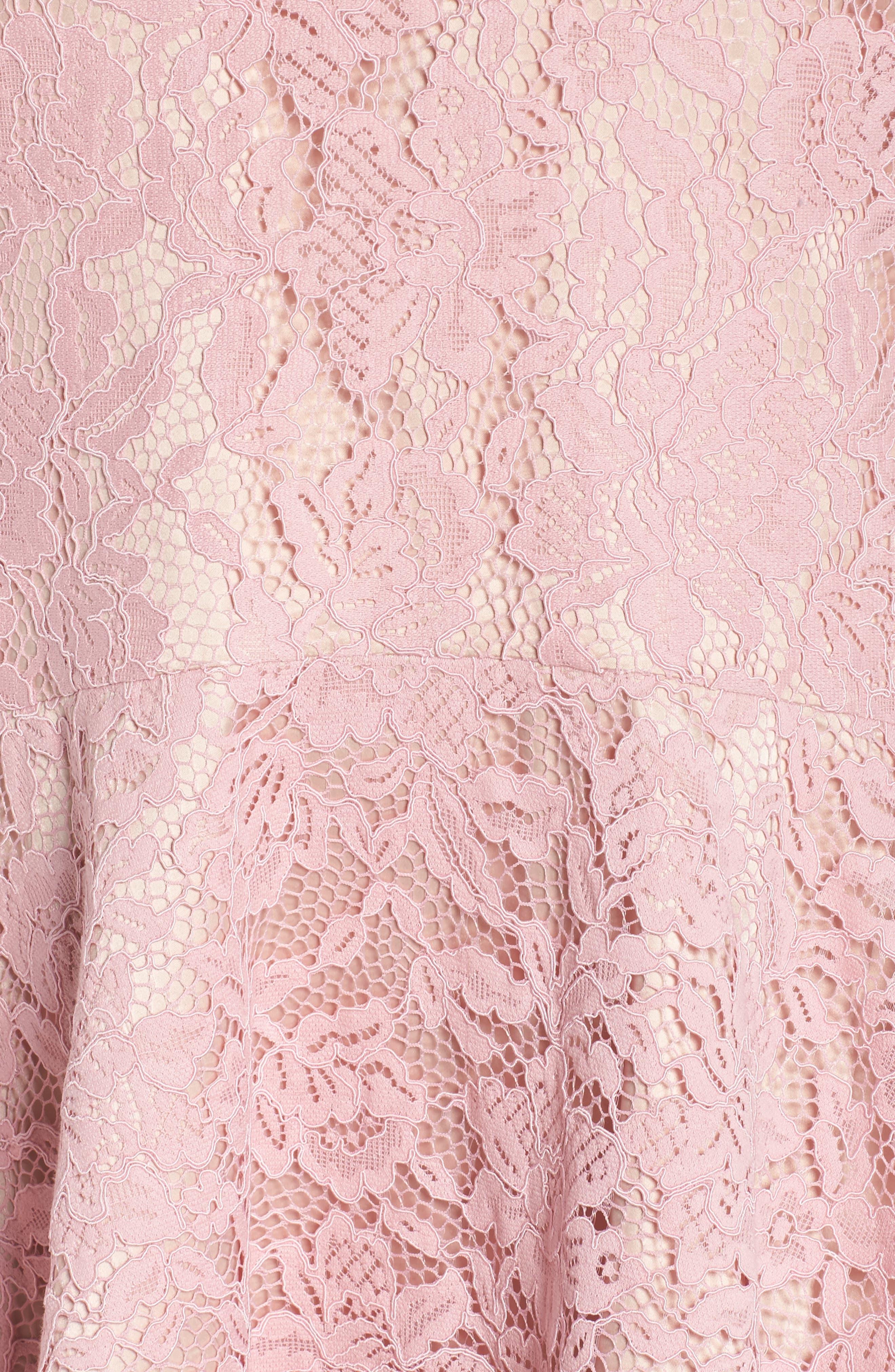 Lace Sleeveless Drop Waist Dress,                             Alternate thumbnail 5, color,                             Blush