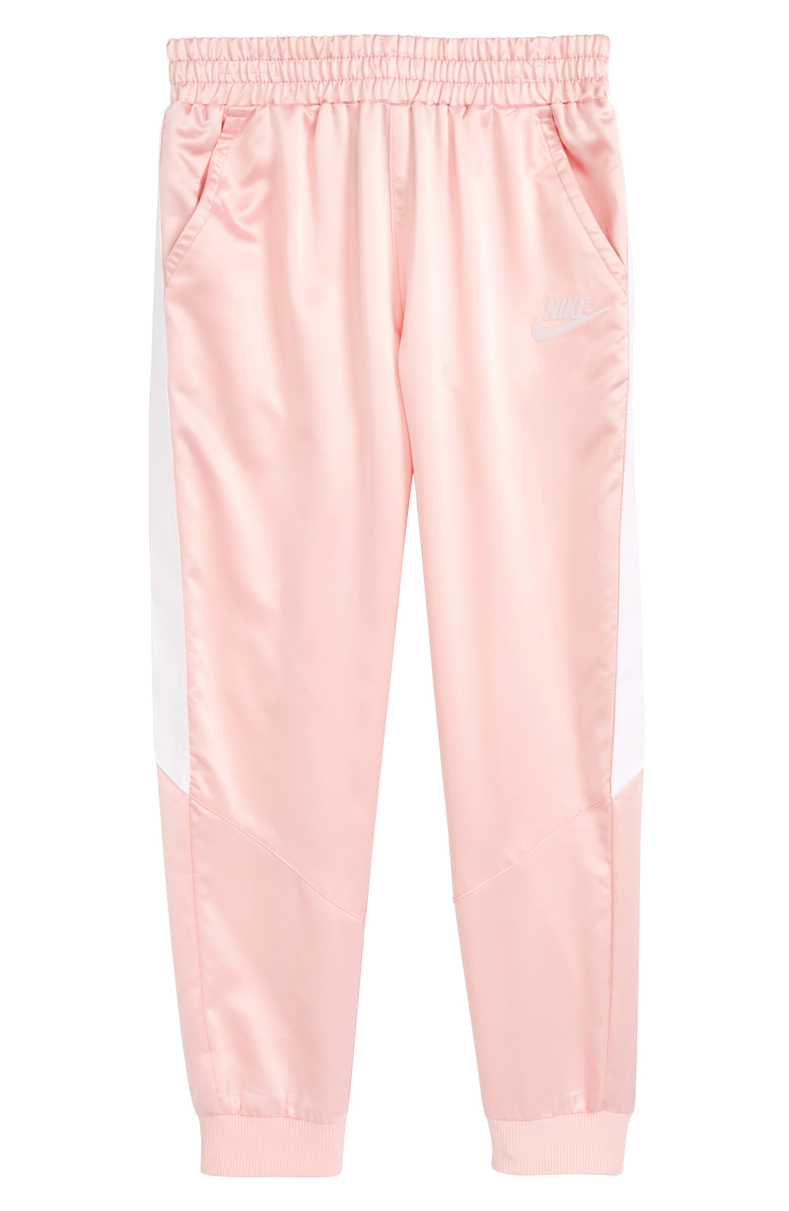 Satin Jogger Pants,                         Main,                         color, Bleached Coral