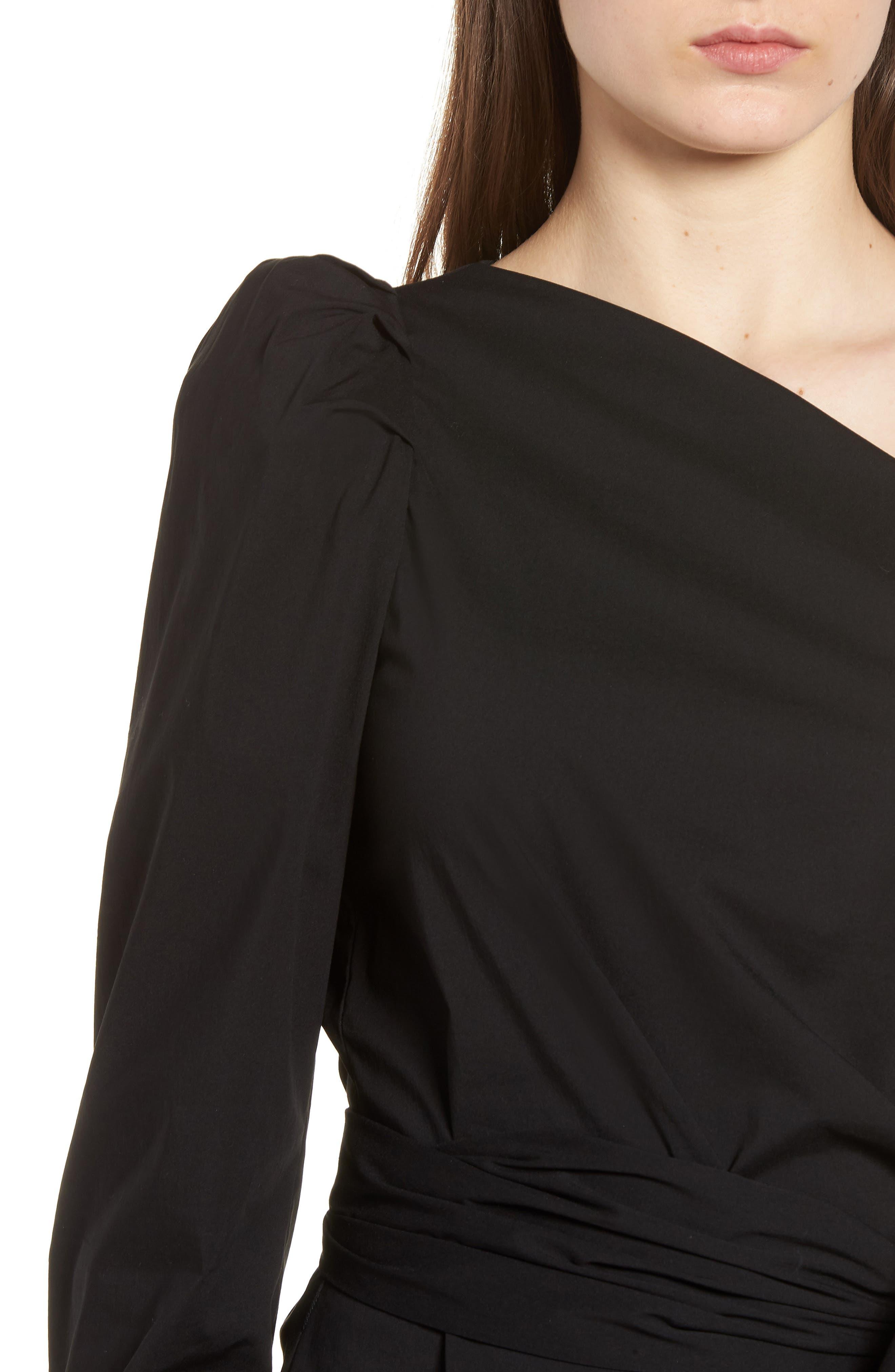 Bishop + Young Belted One-Shoulder Blouse,                             Alternate thumbnail 4, color,                             Black