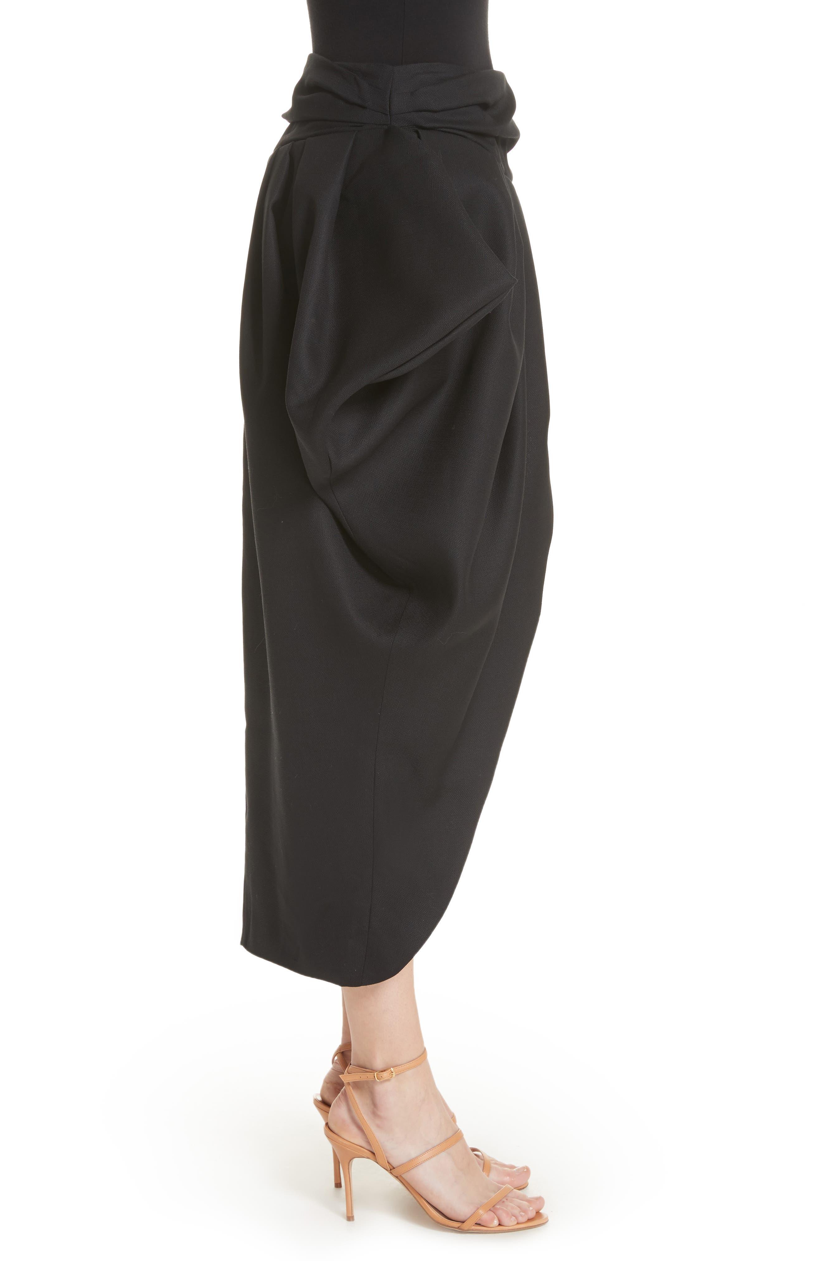 La Jupe Ilha Wool Midi Skirt,                             Alternate thumbnail 3, color,                             Black