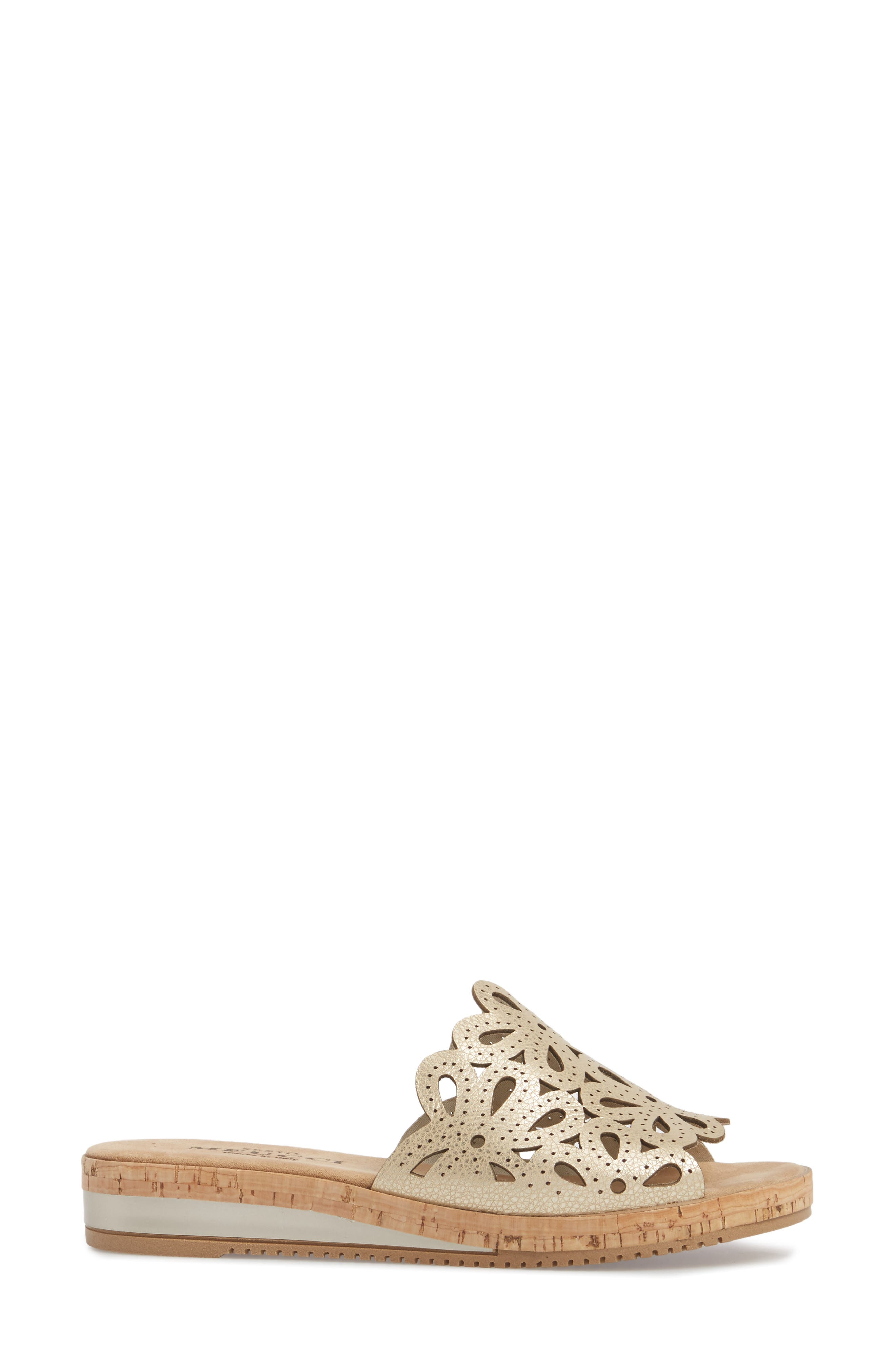 Selina Slide Sandal,                             Alternate thumbnail 3, color,                             Platino Leather