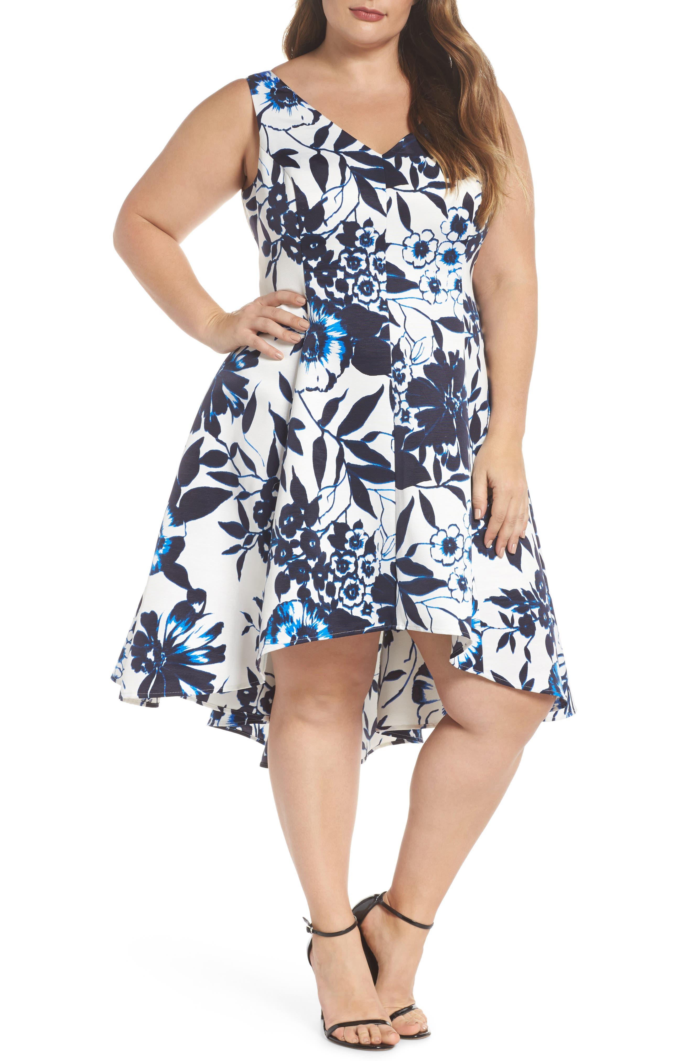 Asymmetric Hem Fit & Flare Dress,                             Main thumbnail 1, color,                             Navy/ Ivory