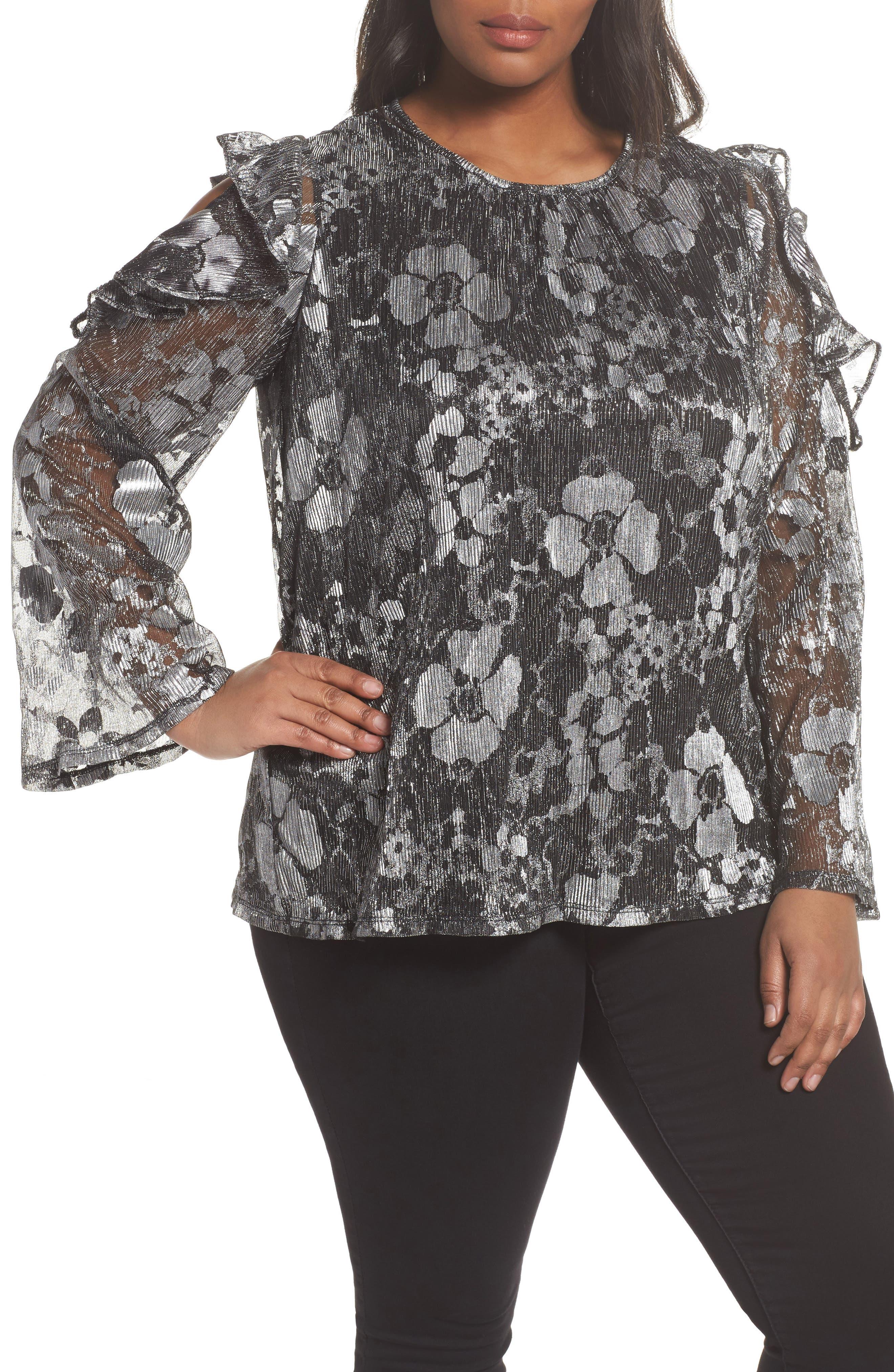 MICHAEL Michael Kors Metallic Floral Cold Shoulder Top (Plus Size)