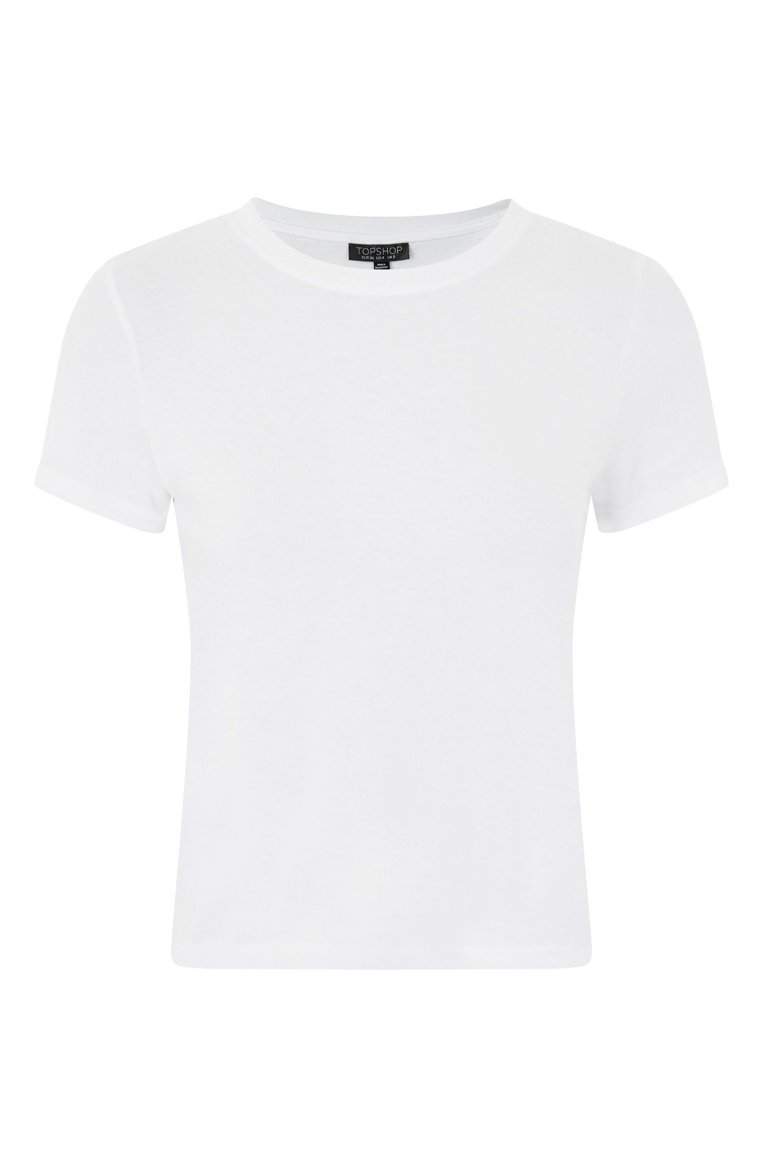 Basic Crop T-Shirt,                             Alternate thumbnail 3, color,                             White