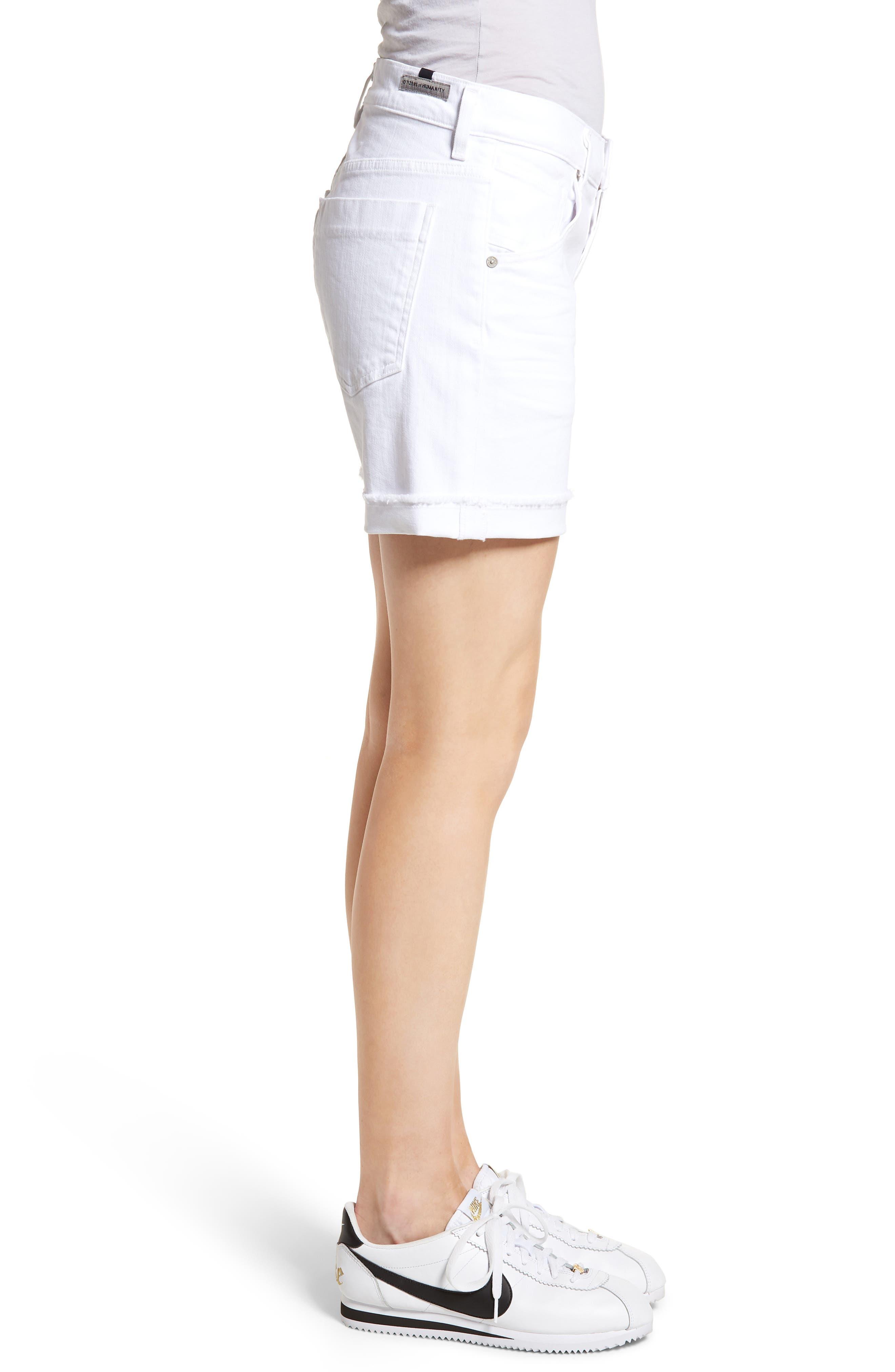 Skyler Denim Shorts,                             Alternate thumbnail 3, color,                             Optic White