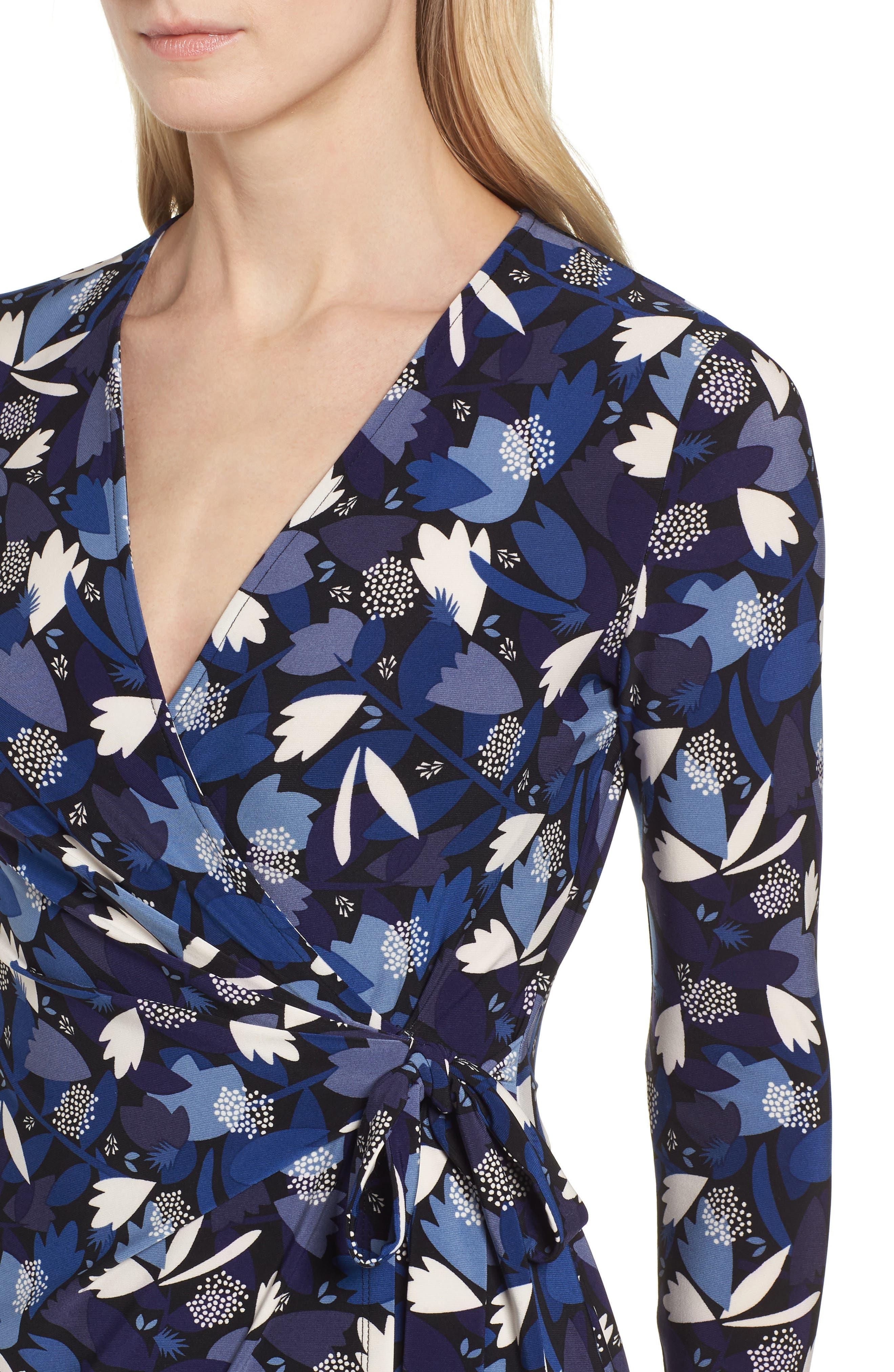 New York Amalfi Print Classic Wrap Dress,                             Alternate thumbnail 4, color,                             Black/ Monaco Combo