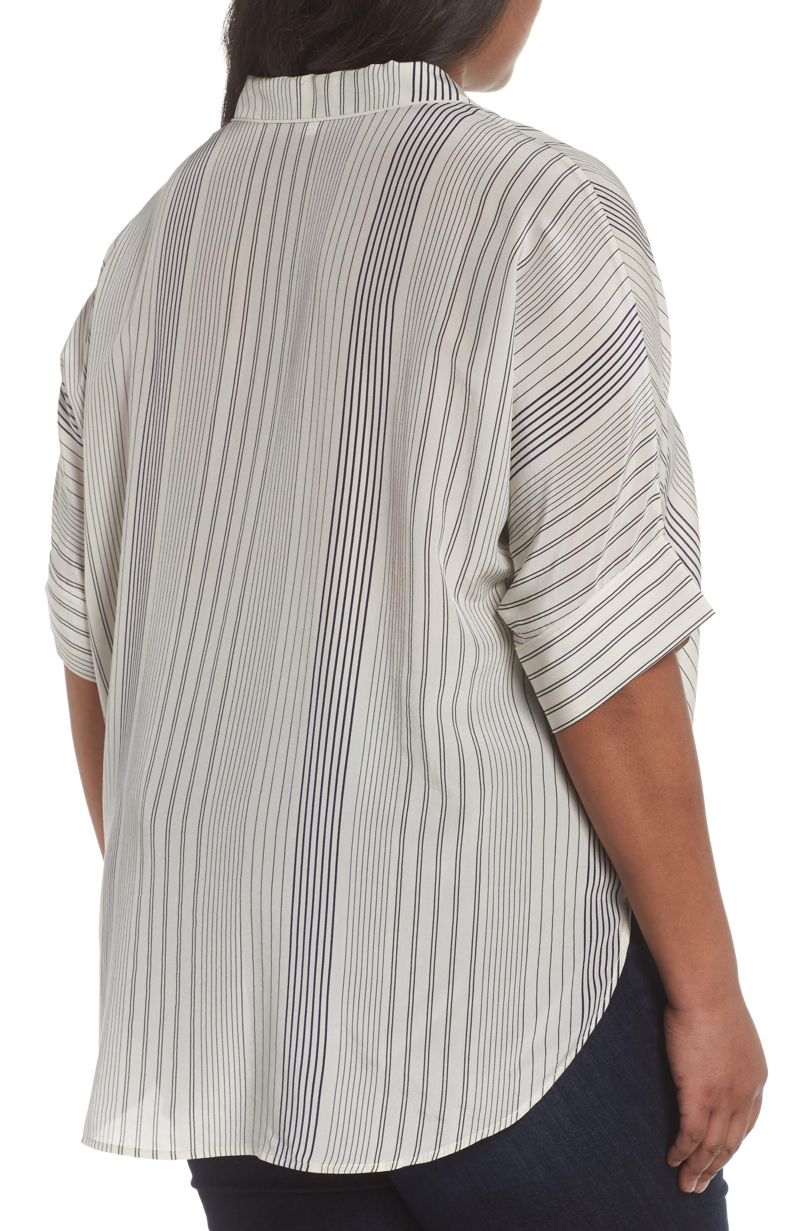 Stripe Silk Shirt,                             Alternate thumbnail 2, color,                             Bone