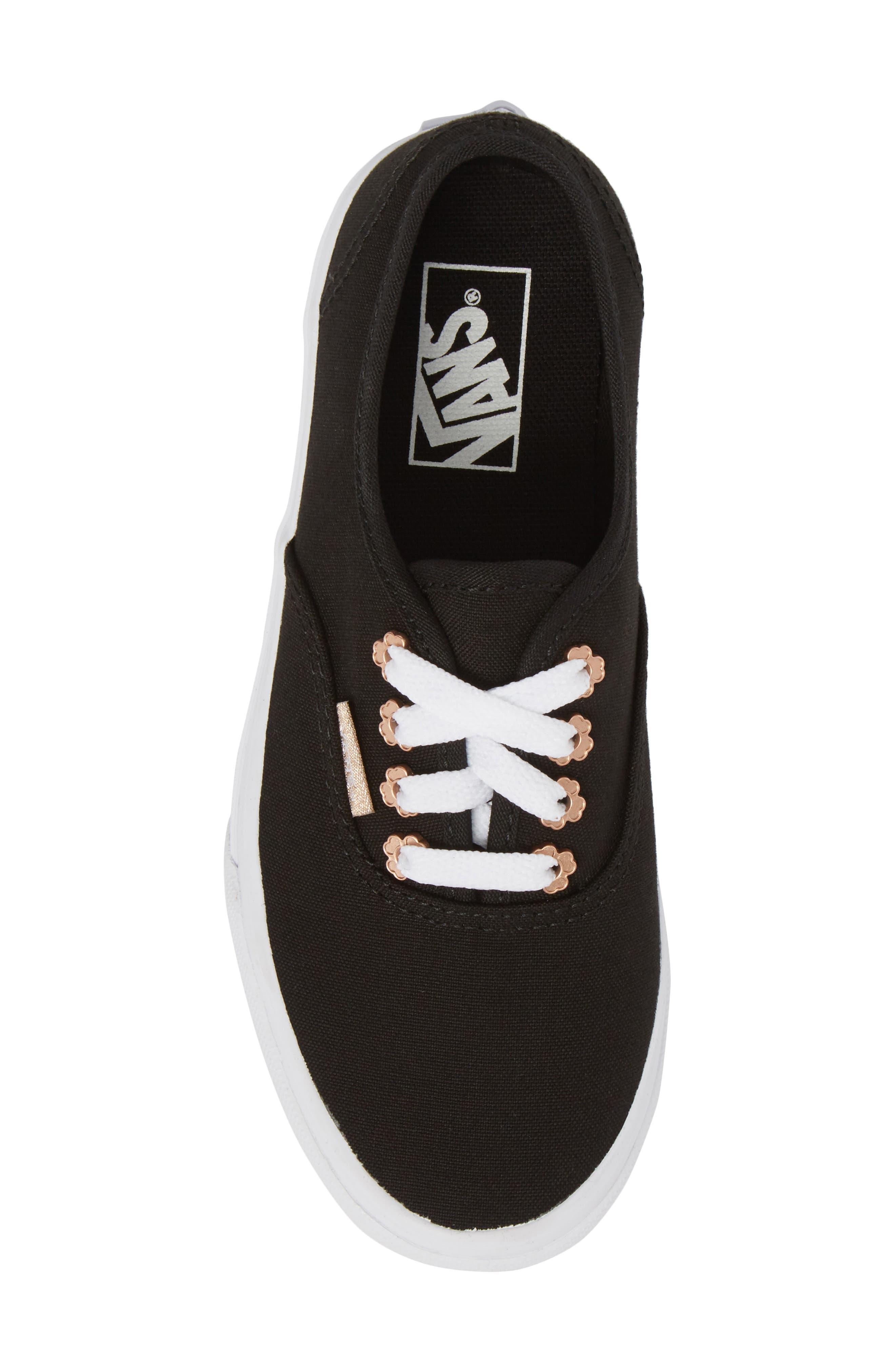 Authentic Sneaker,                             Alternate thumbnail 5, color,                             Black Flower Eyelet