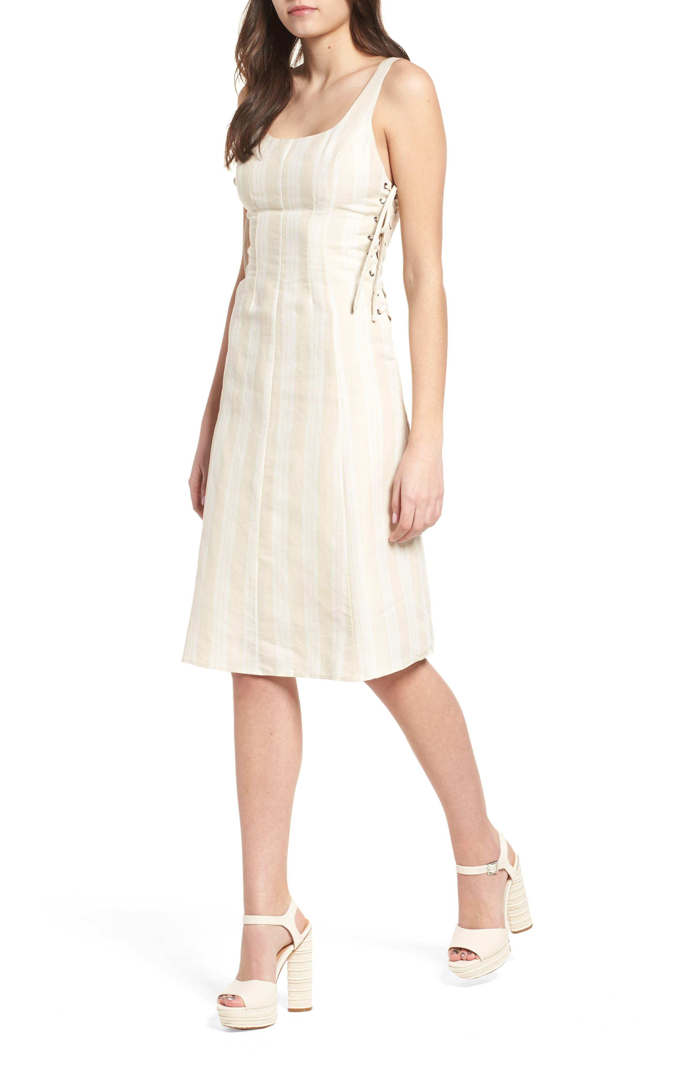Elena Lace Side Dress,                             Main thumbnail 1, color,                             Natural Stripe