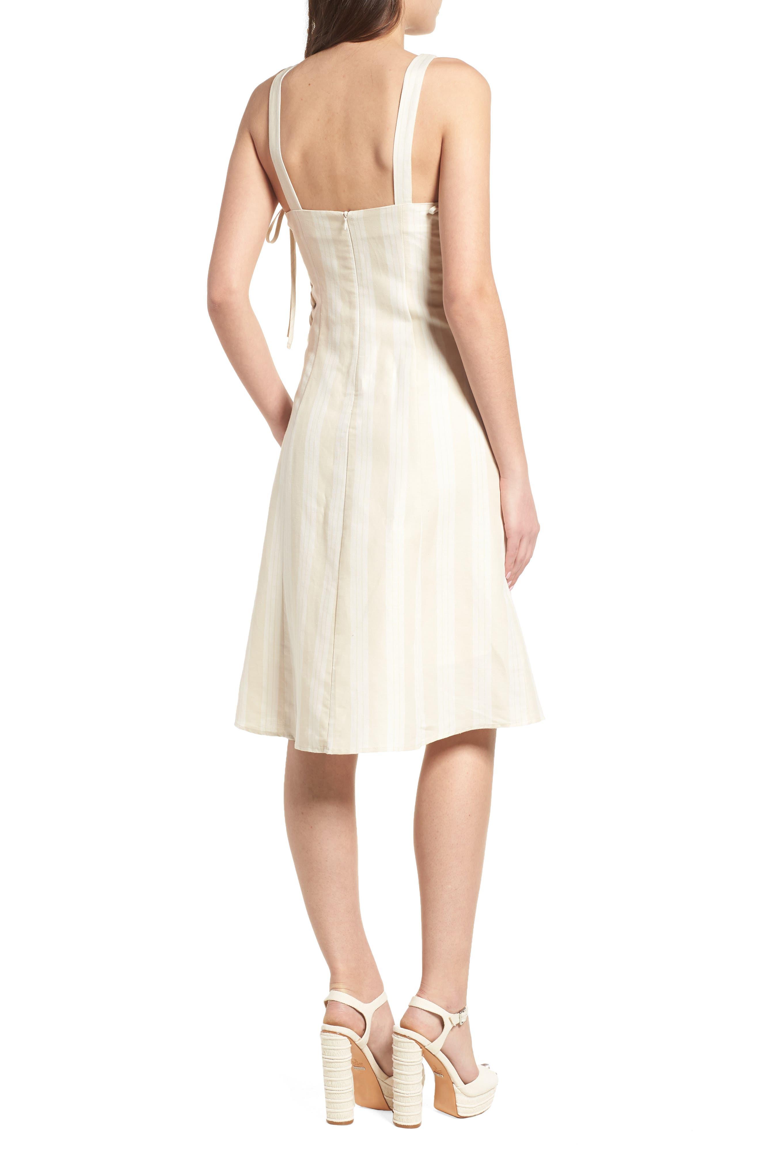 Elena Lace Side Dress,                             Alternate thumbnail 2, color,                             Natural Stripe