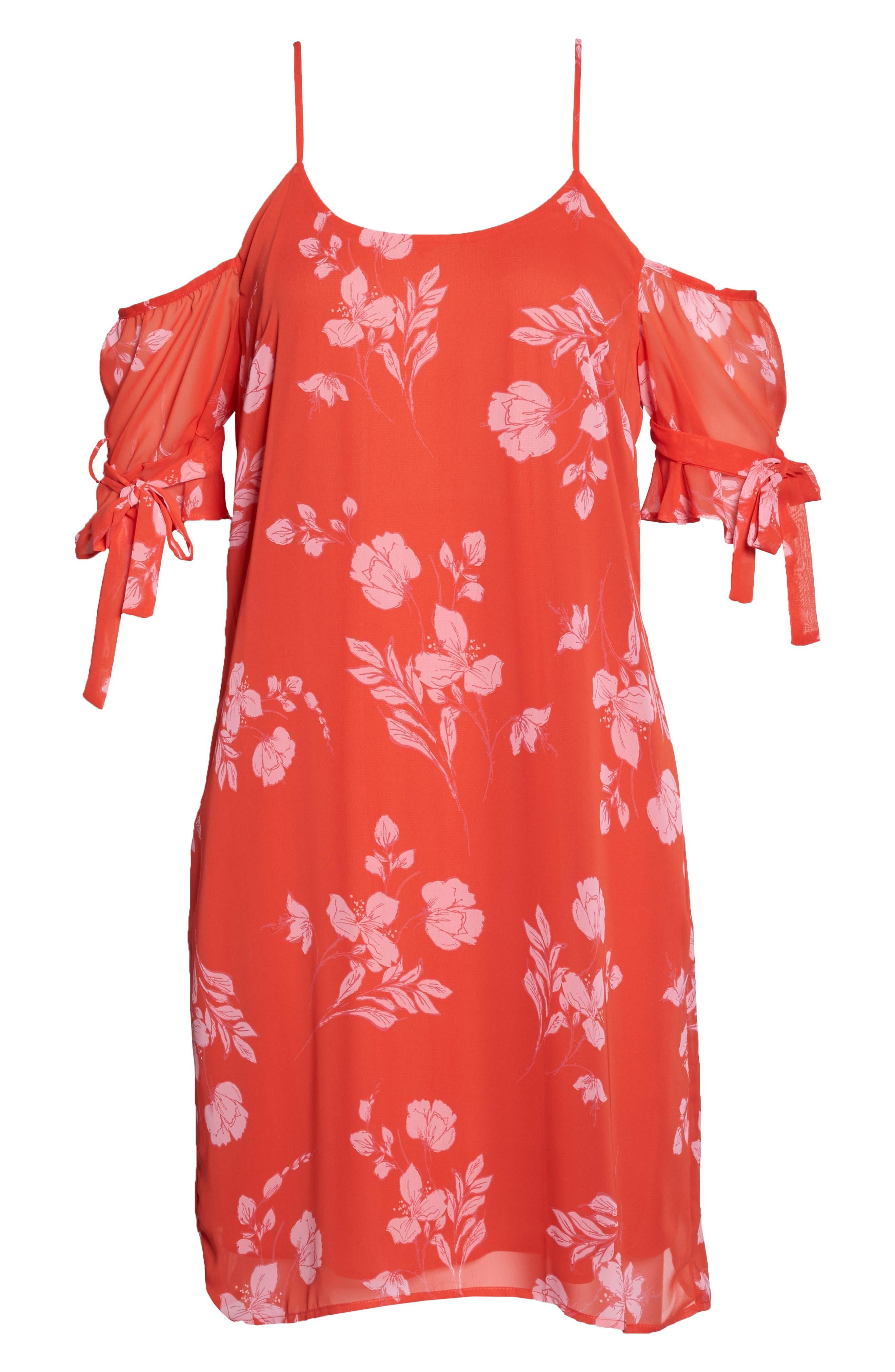 Cold Shoulder Dress,                             Alternate thumbnail 7, color,                             Coral Multi