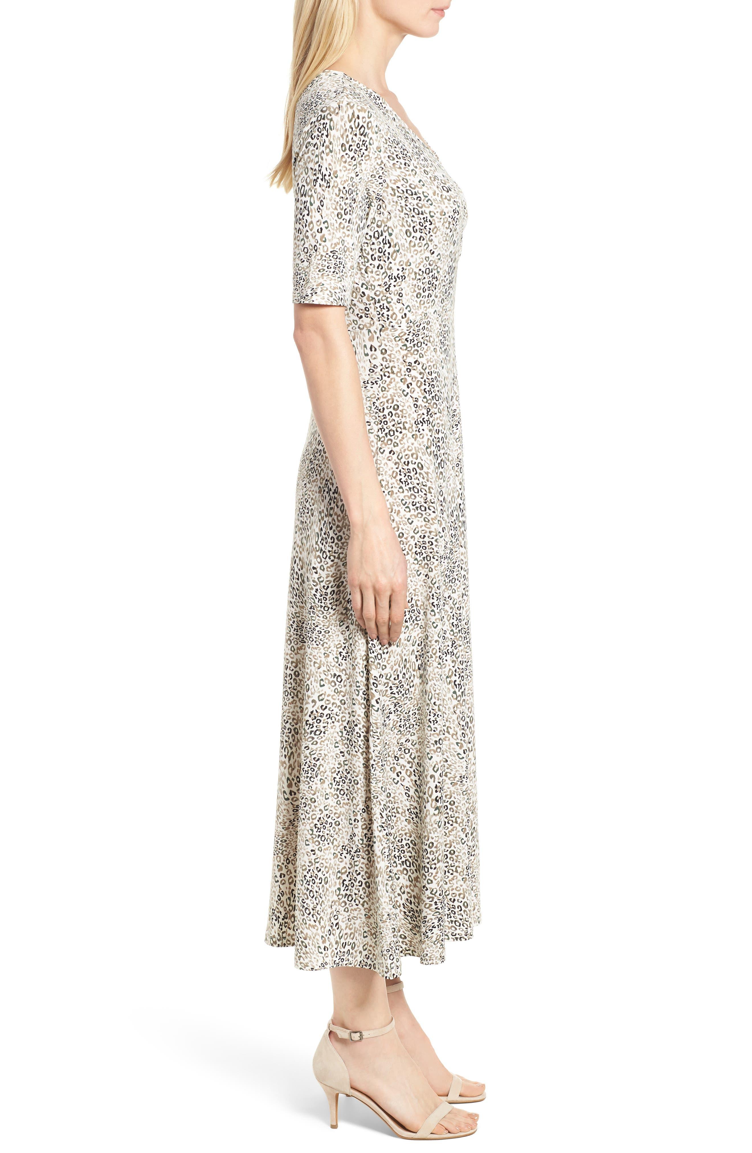 Leopard Print Maxi Dress,                             Alternate thumbnail 3, color,                             103-New Ivory