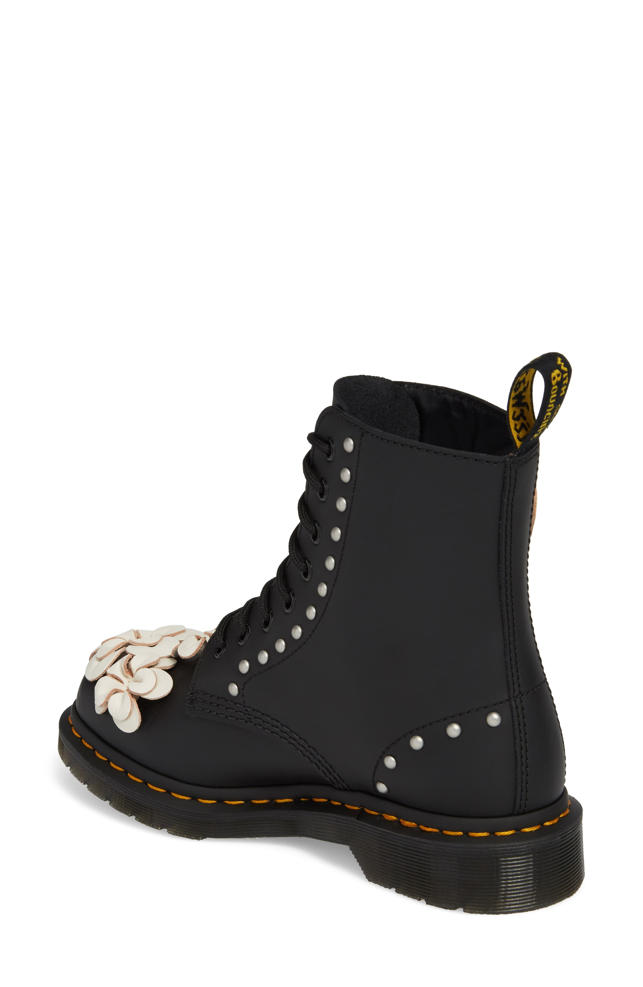 Pascal Flower Boot,                             Alternate thumbnail 2, color,                             Black Leather