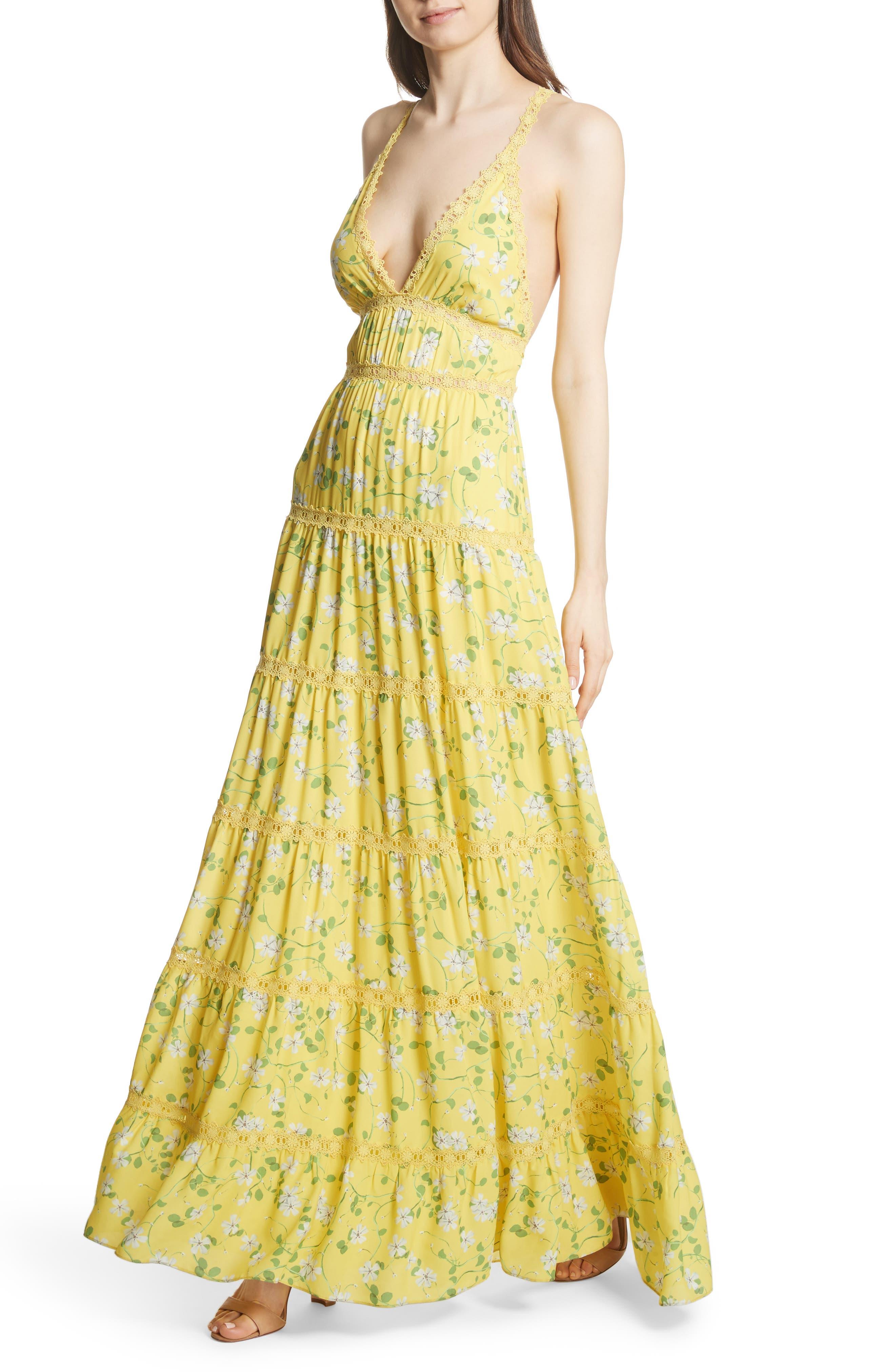 Karolina Print Maxi Dress,                             Alternate thumbnail 4, color,                             Spring Primrose-Lemon