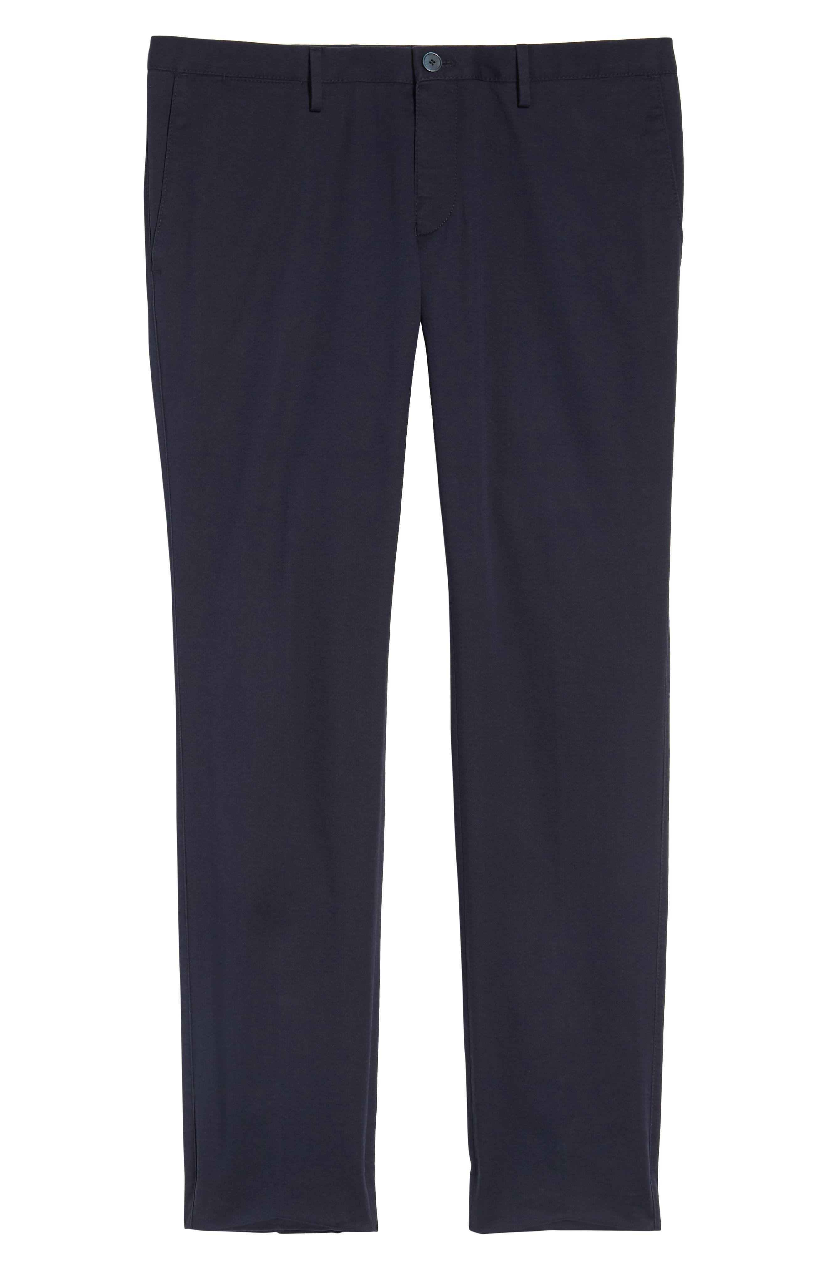 Stanino-W Flat Front Stretch Cotton Trousers,                             Alternate thumbnail 6, color,                             Navy