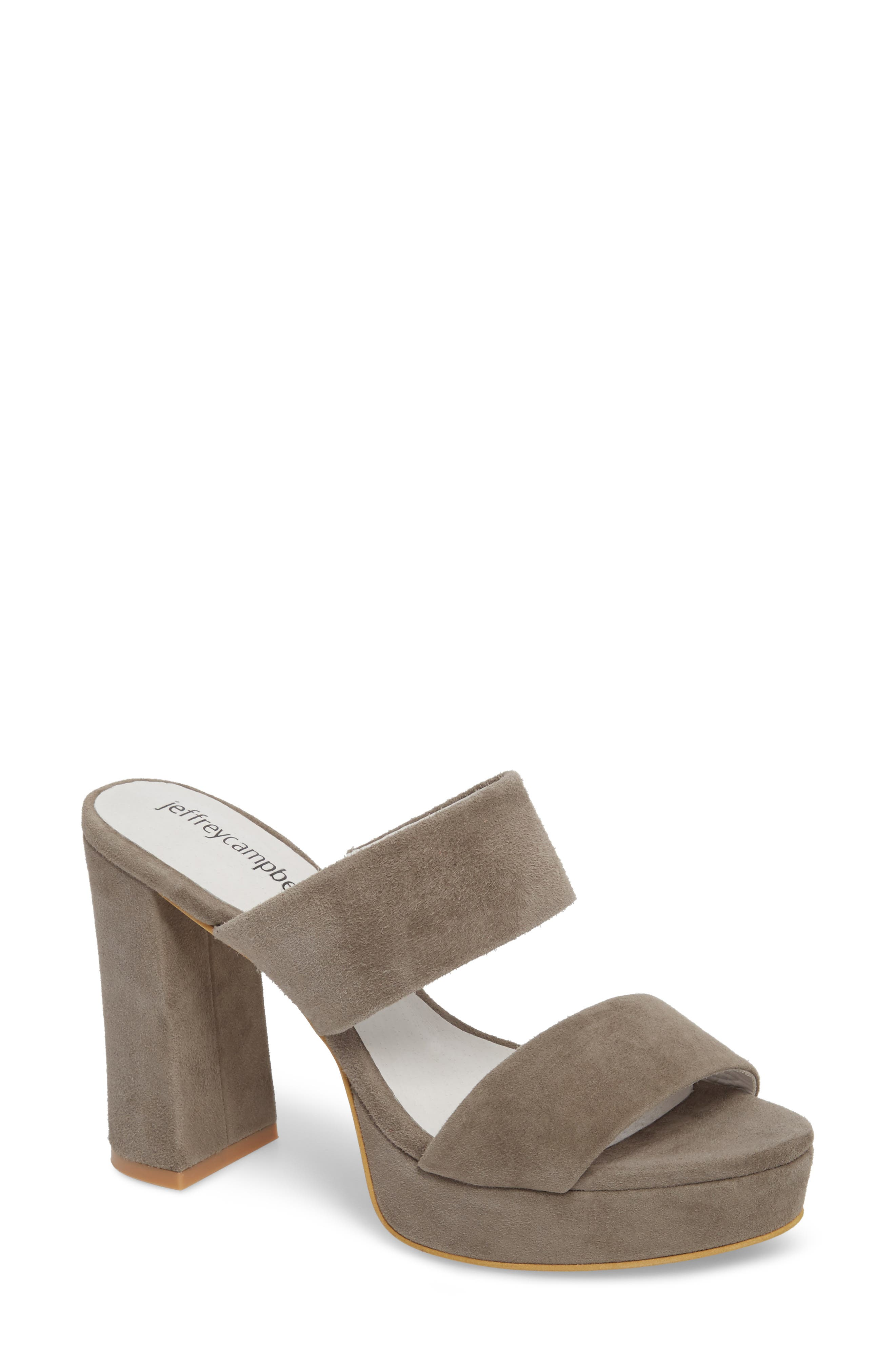 Adriana Double Band Platform Sandal,                         Main,                         color, Grey Suede