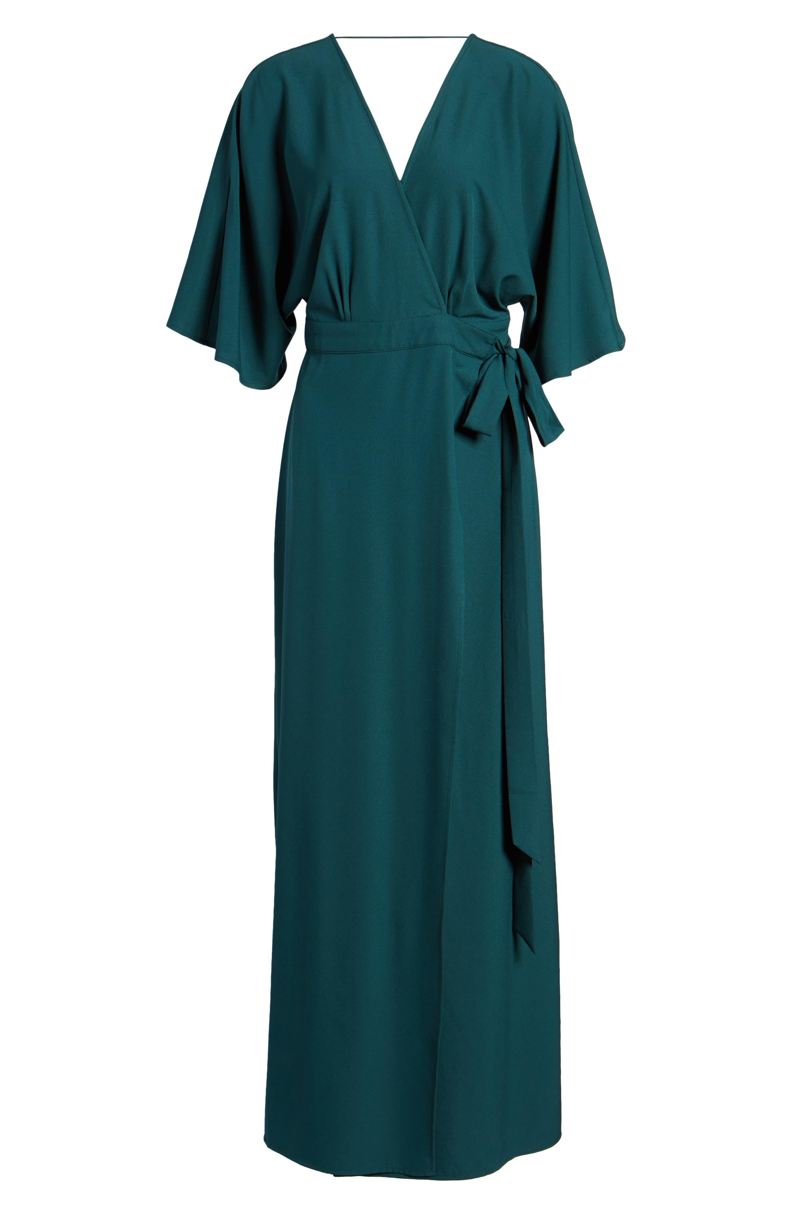 Kimono Maxi Dress,                             Alternate thumbnail 7, color,                             Green Bug