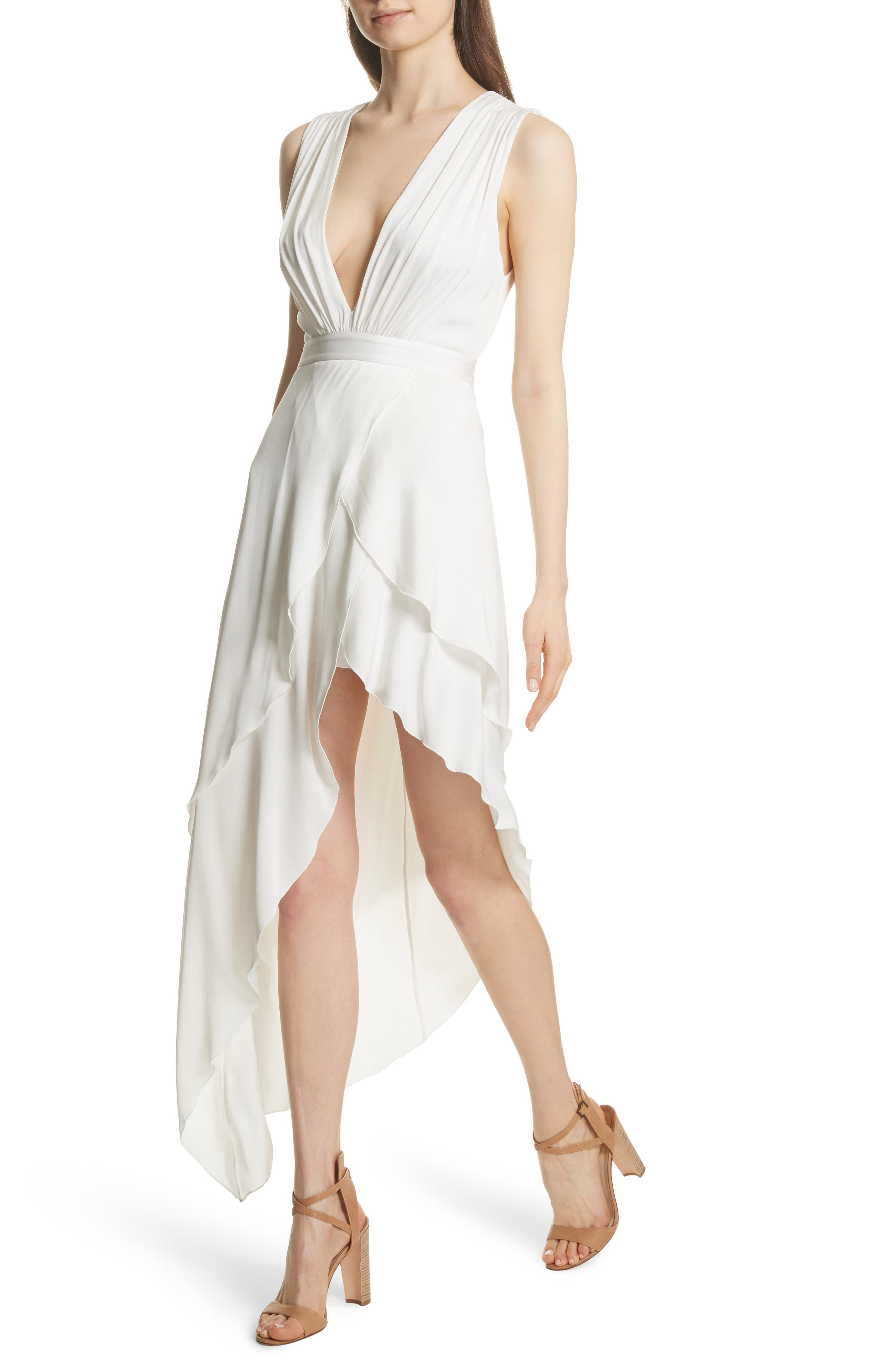 Chantay Asymmetrical Plunging Maxi Dress,                             Alternate thumbnail 4, color,                             Off White