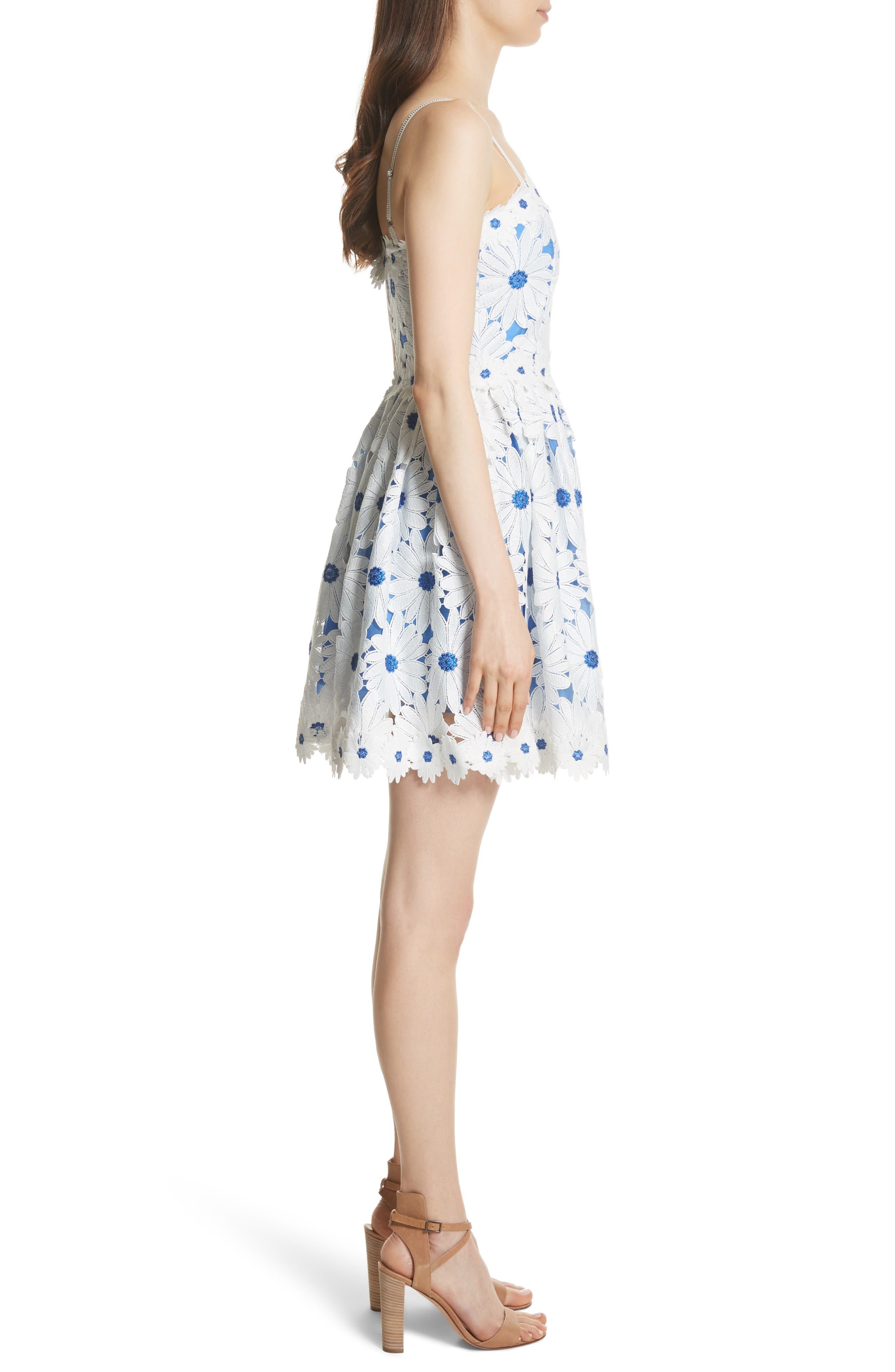 Vandy Lace Minidress,                             Alternate thumbnail 3, color,                             White/ Blue
