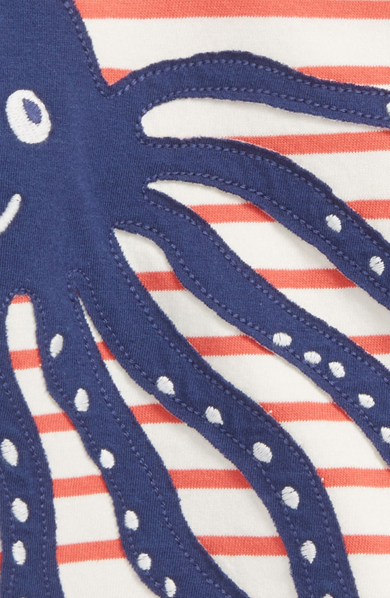 Sea Adventure Appliqué T-Shirt,                             Alternate thumbnail 3, color,                             Ecru/ Crayon Red