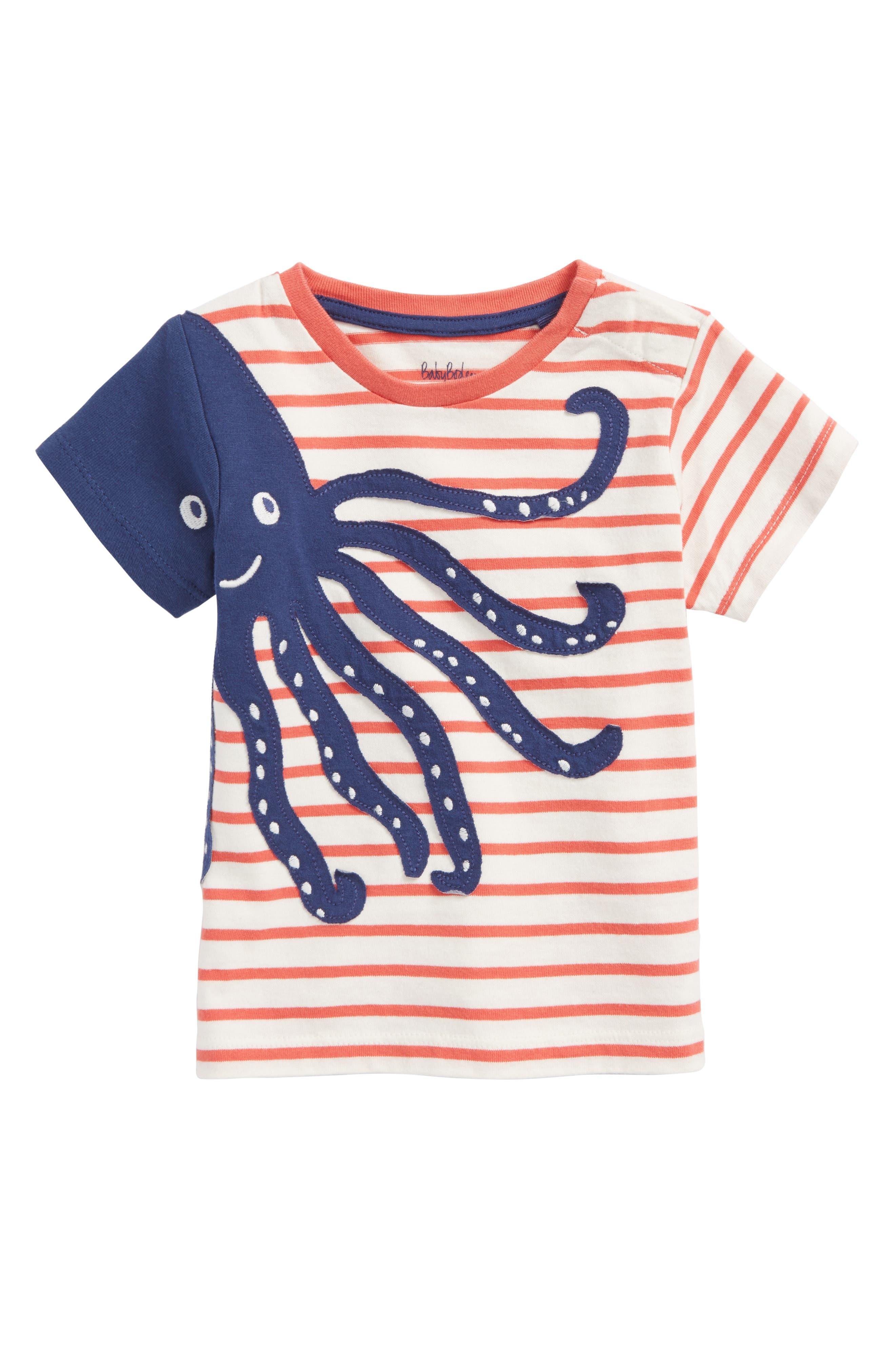 Sea Adventure Appliqué T-Shirt,                             Main thumbnail 1, color,                             Ecru/ Crayon Red