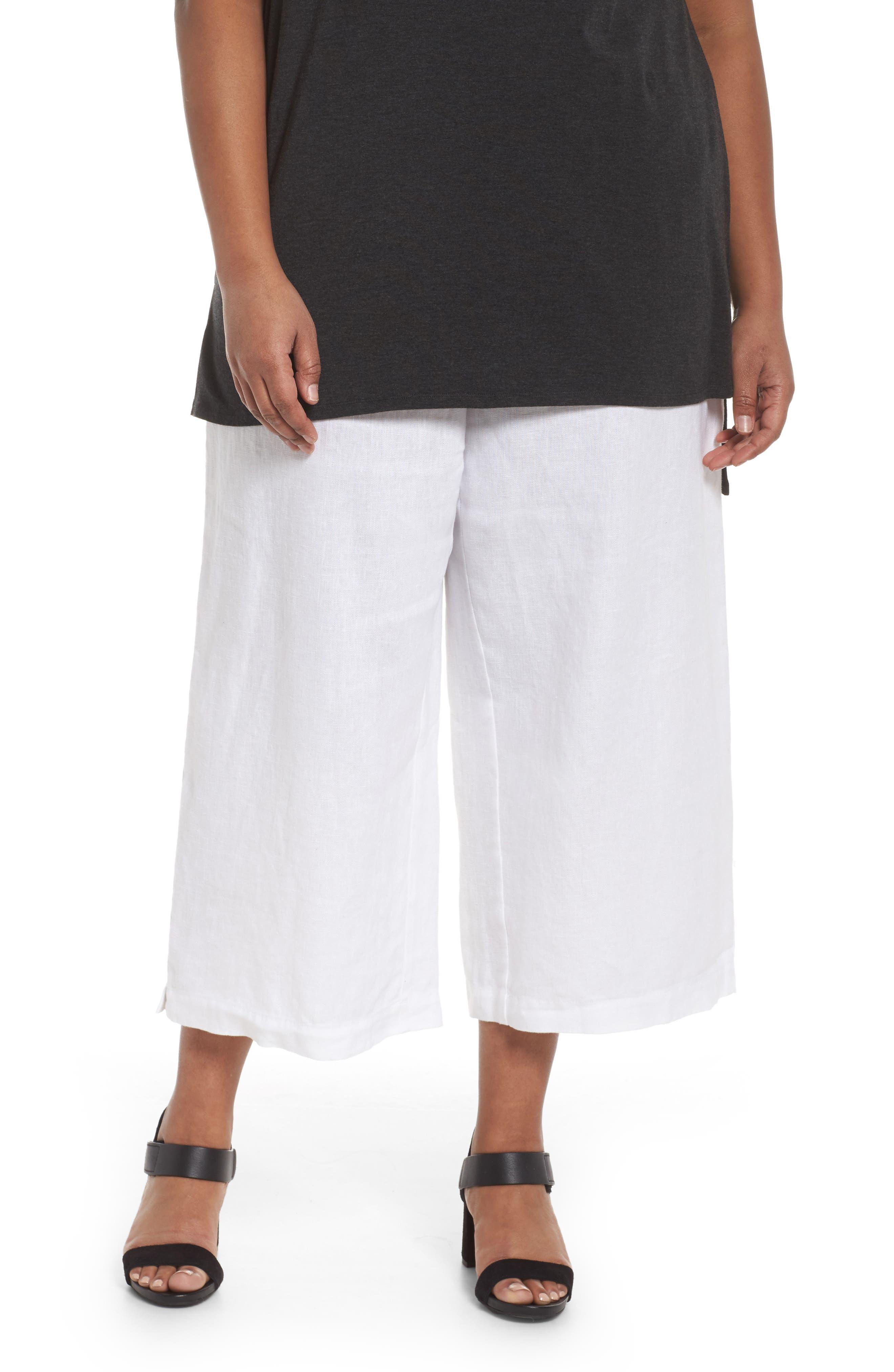Wide Leg Crop Pants,                         Main,                         color, White