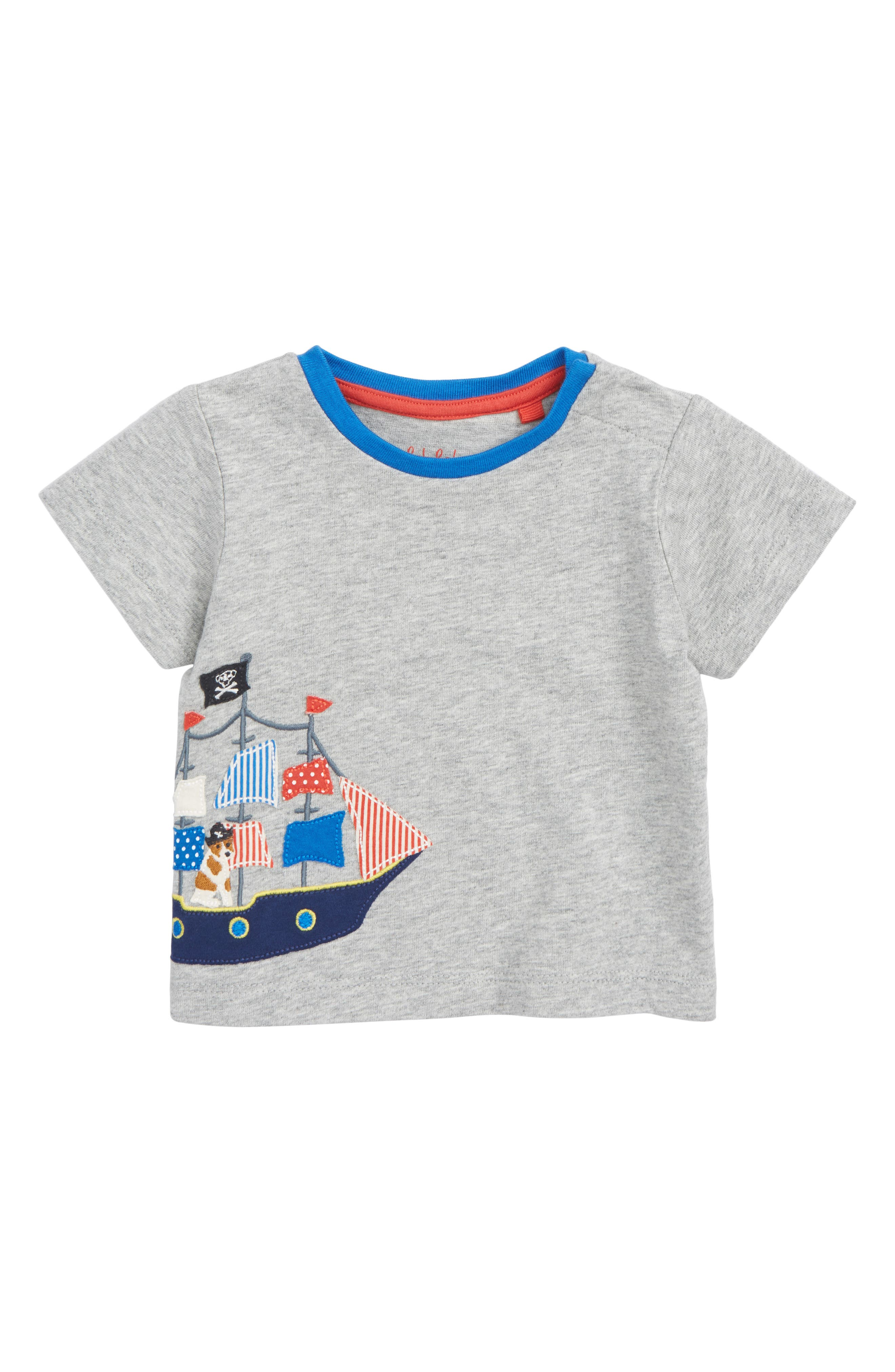 Sea Adventure Appliqué T-Shirt,                         Main,                         color, Grey Marl/ Pirate Ship