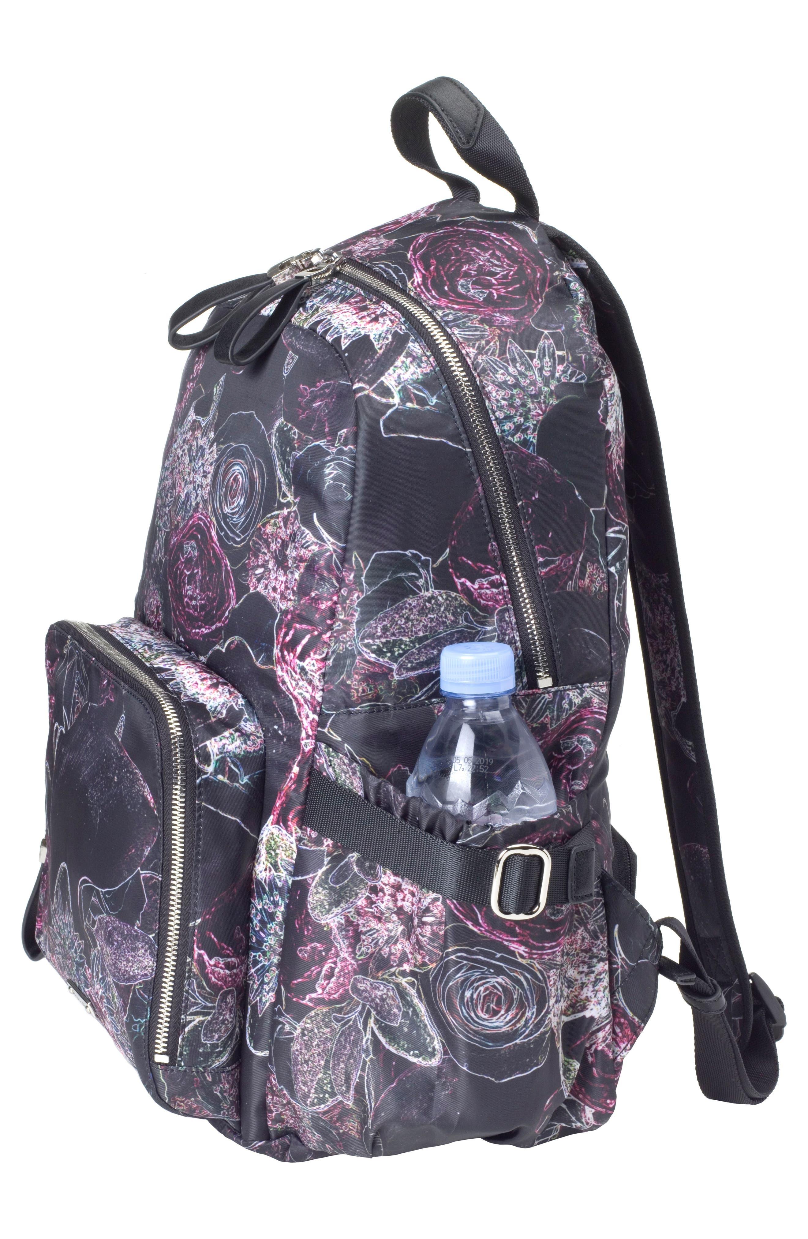Hero Water Resistant Nylon Backpack Diaper Bag,                             Alternate thumbnail 9, color,                             Neon Floral