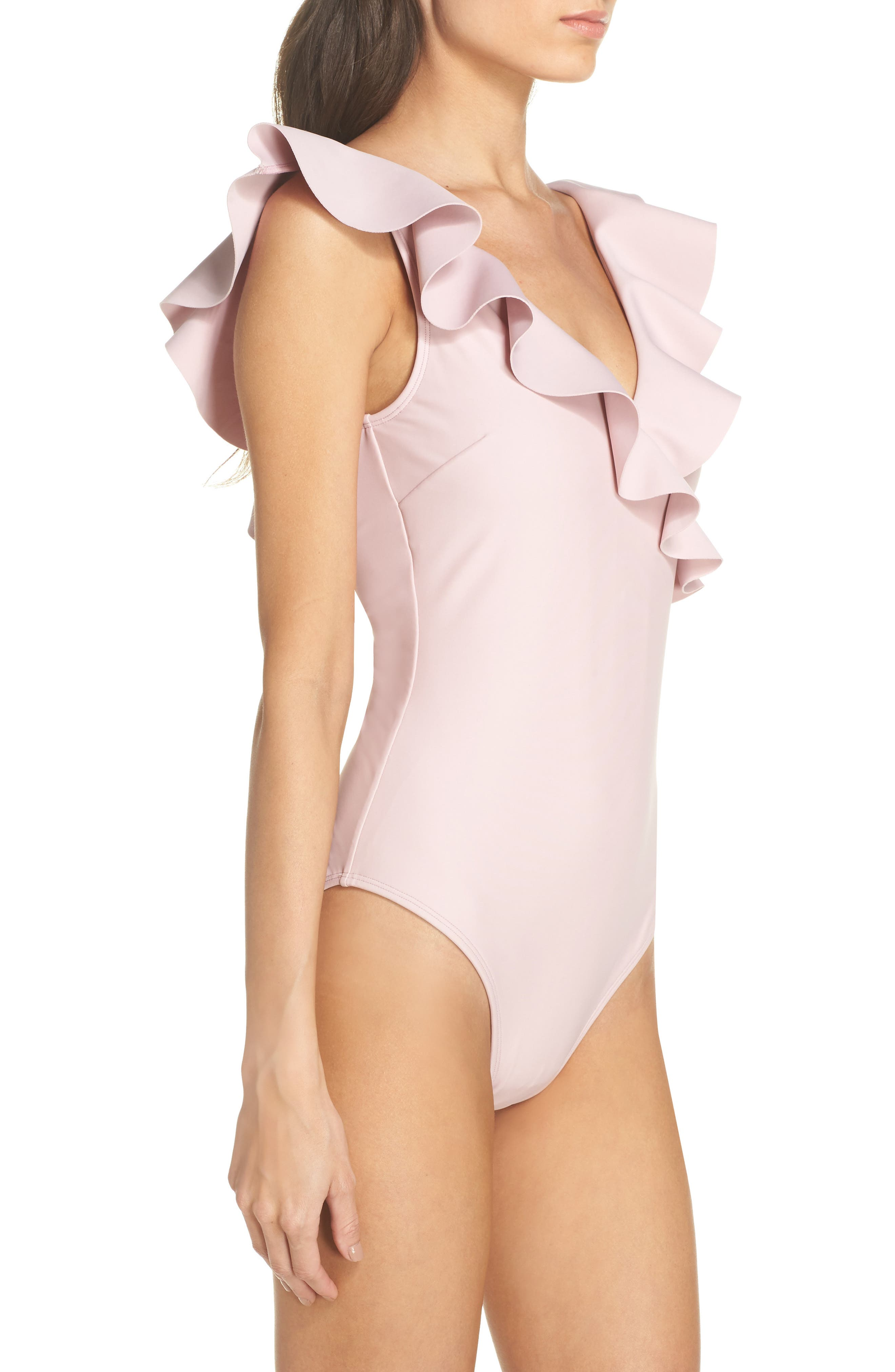 Henika One-Piece Swimsuit,                             Alternate thumbnail 3, color,                             Dusky Pink