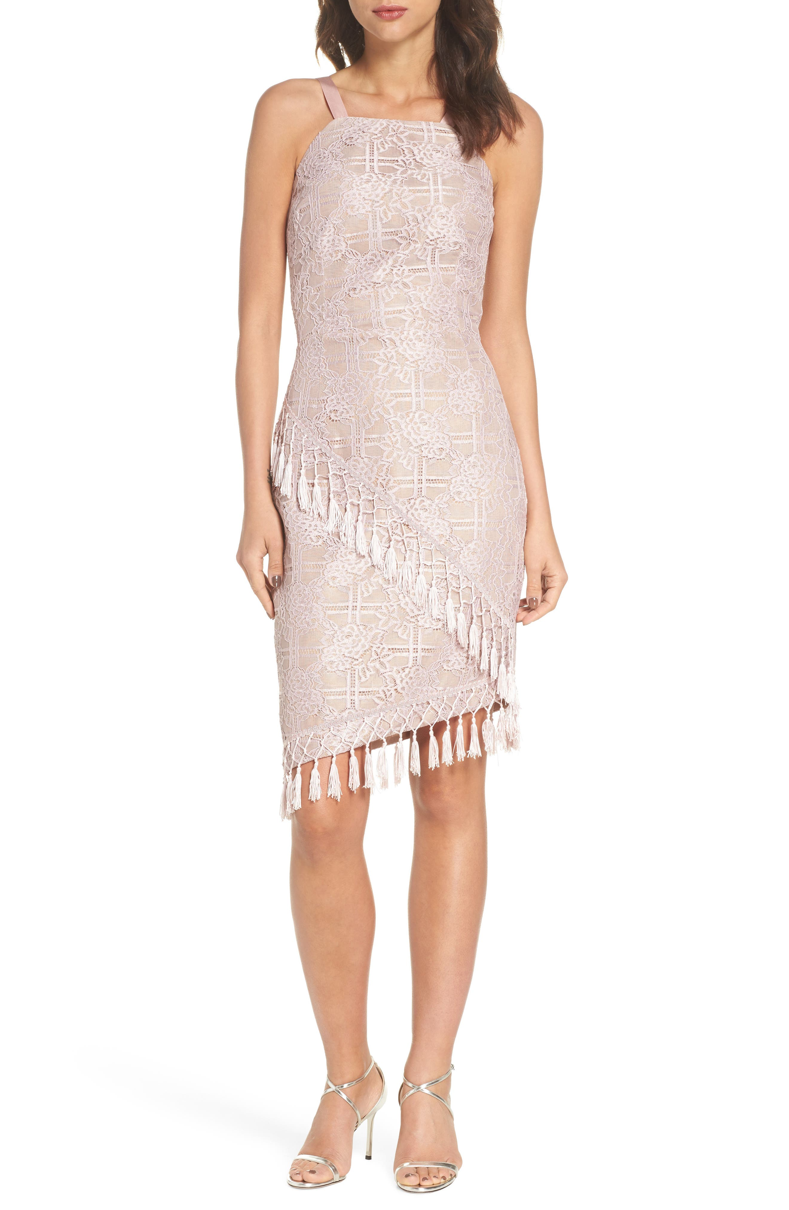 Natasha Asymmetrical Lace Dress,                         Main,                         color, Blush