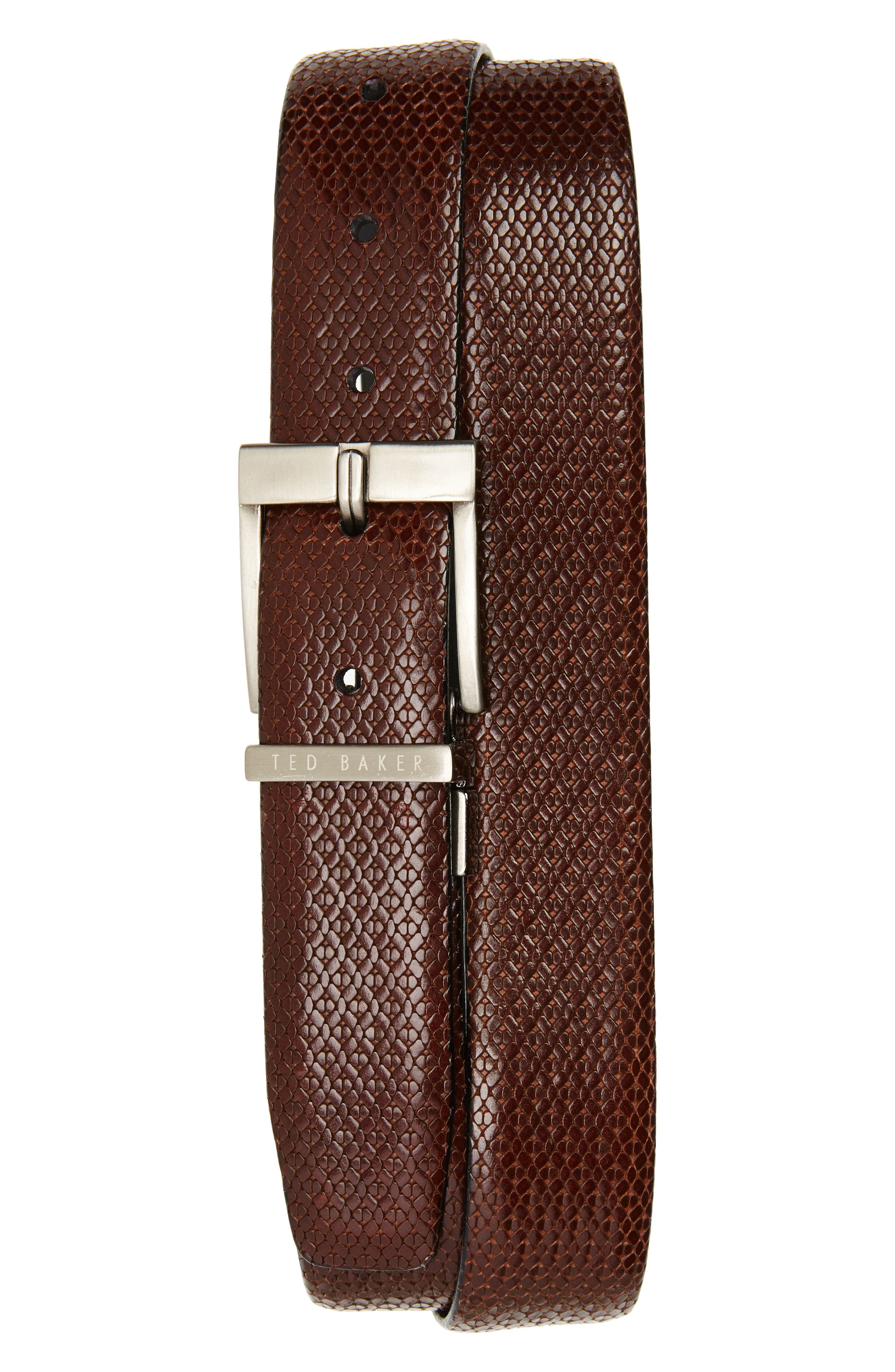 Reversible Leather Belt,                             Main thumbnail 1, color,                             Chocolate