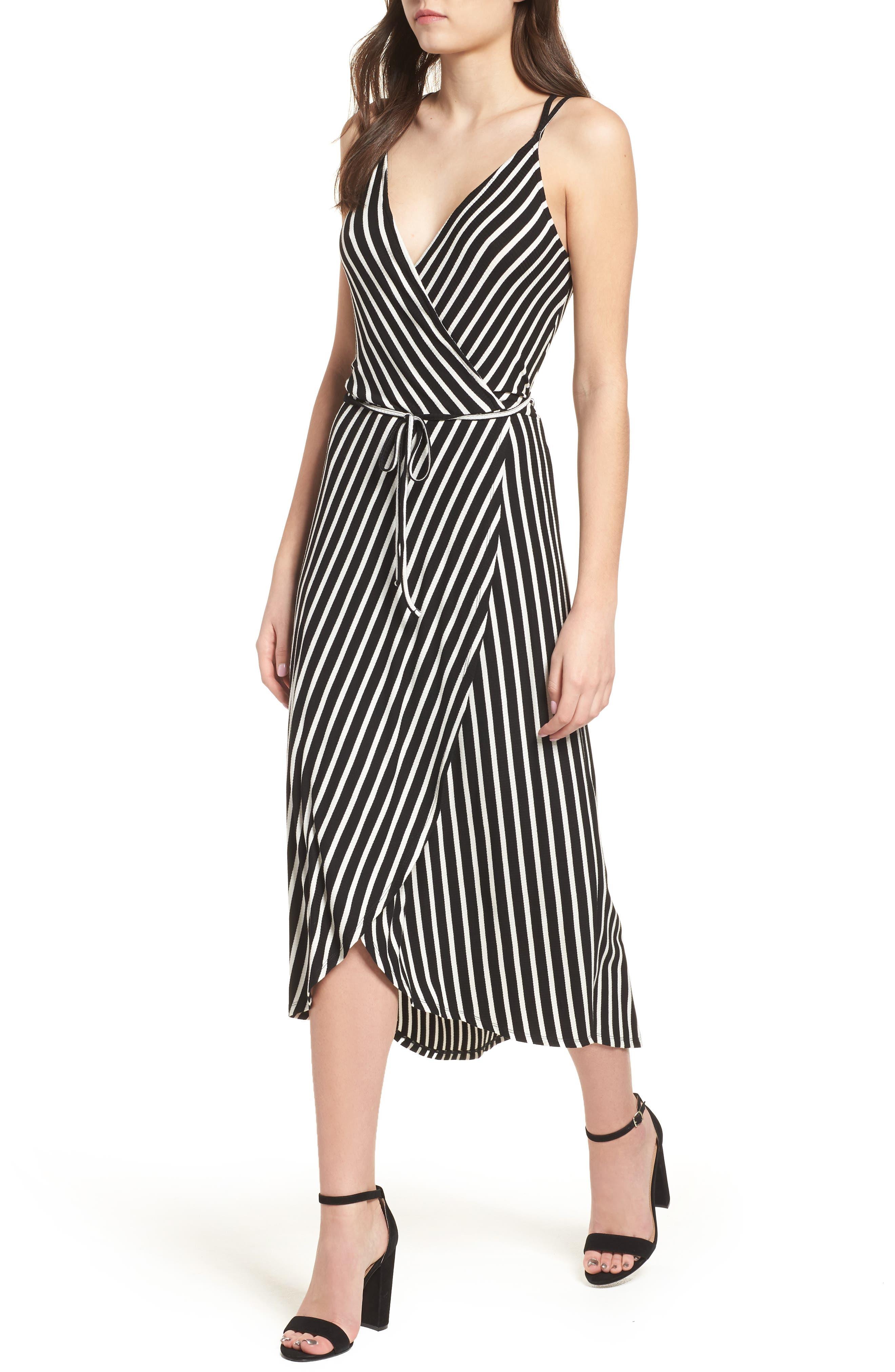 Ribbed Stripe Wrap Dress,                             Main thumbnail 1, color,                             Black/ White Stripe