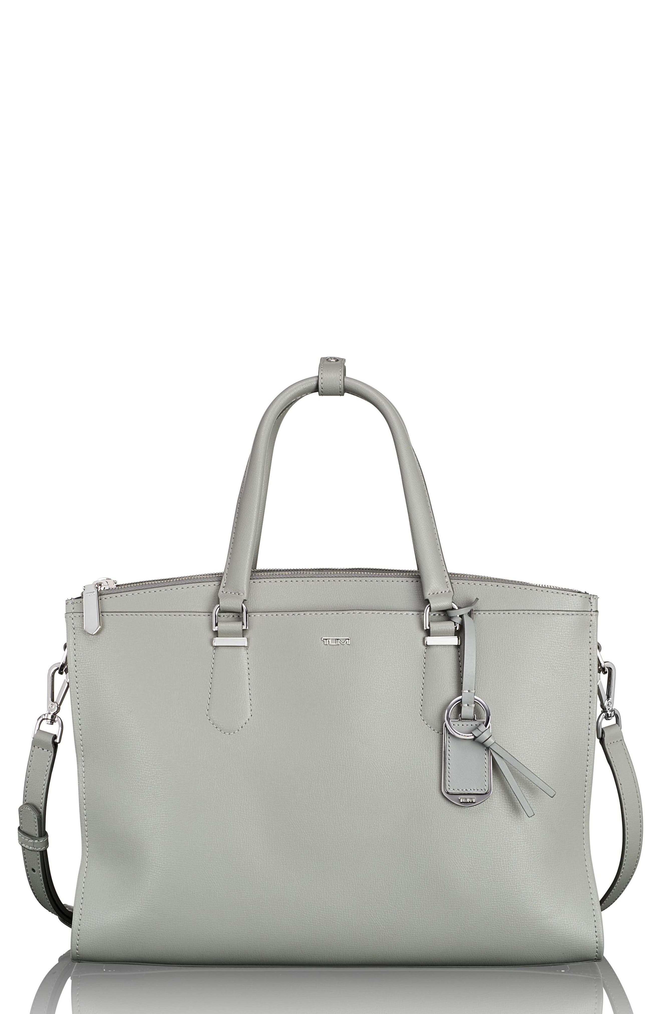 Stanton – Esme Leather Business Briefcase,                             Main thumbnail 1, color,                             Light Grey