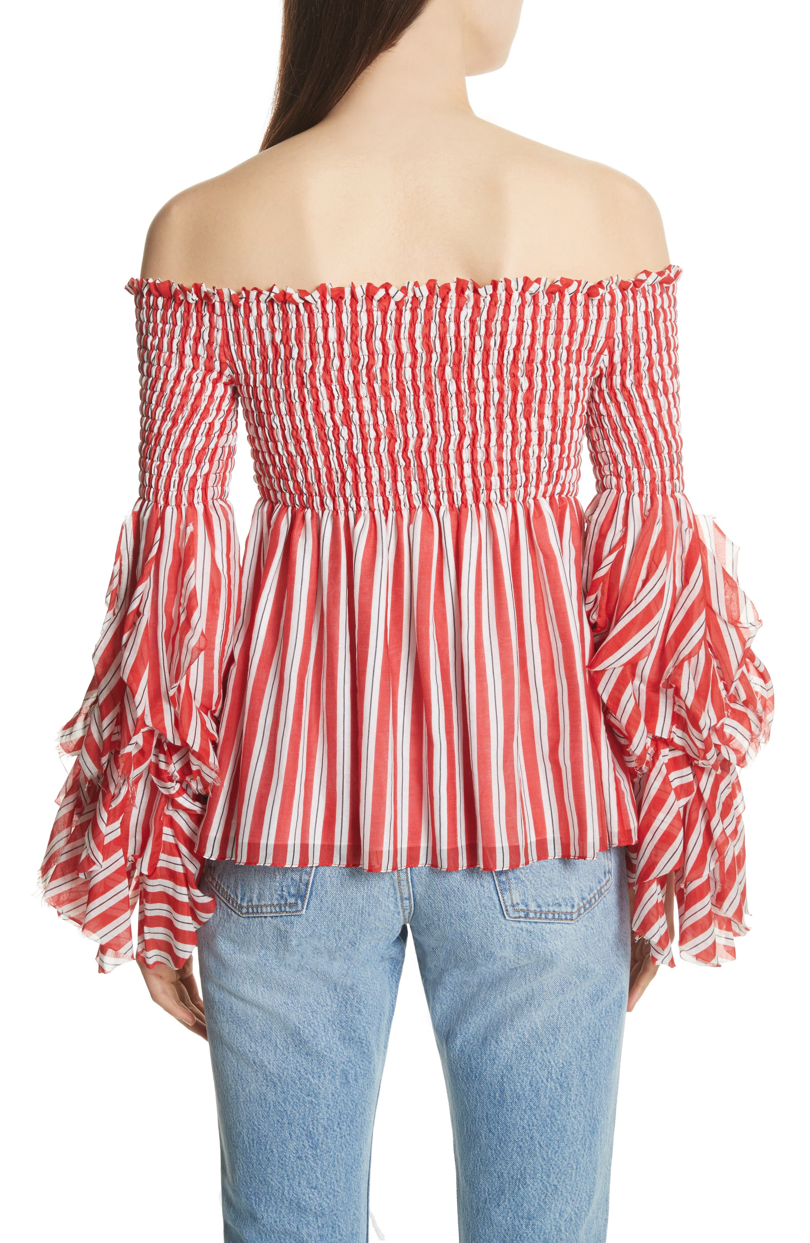 Alessandra Off the Shoulder Silk Top,                             Alternate thumbnail 2, color,                             Red