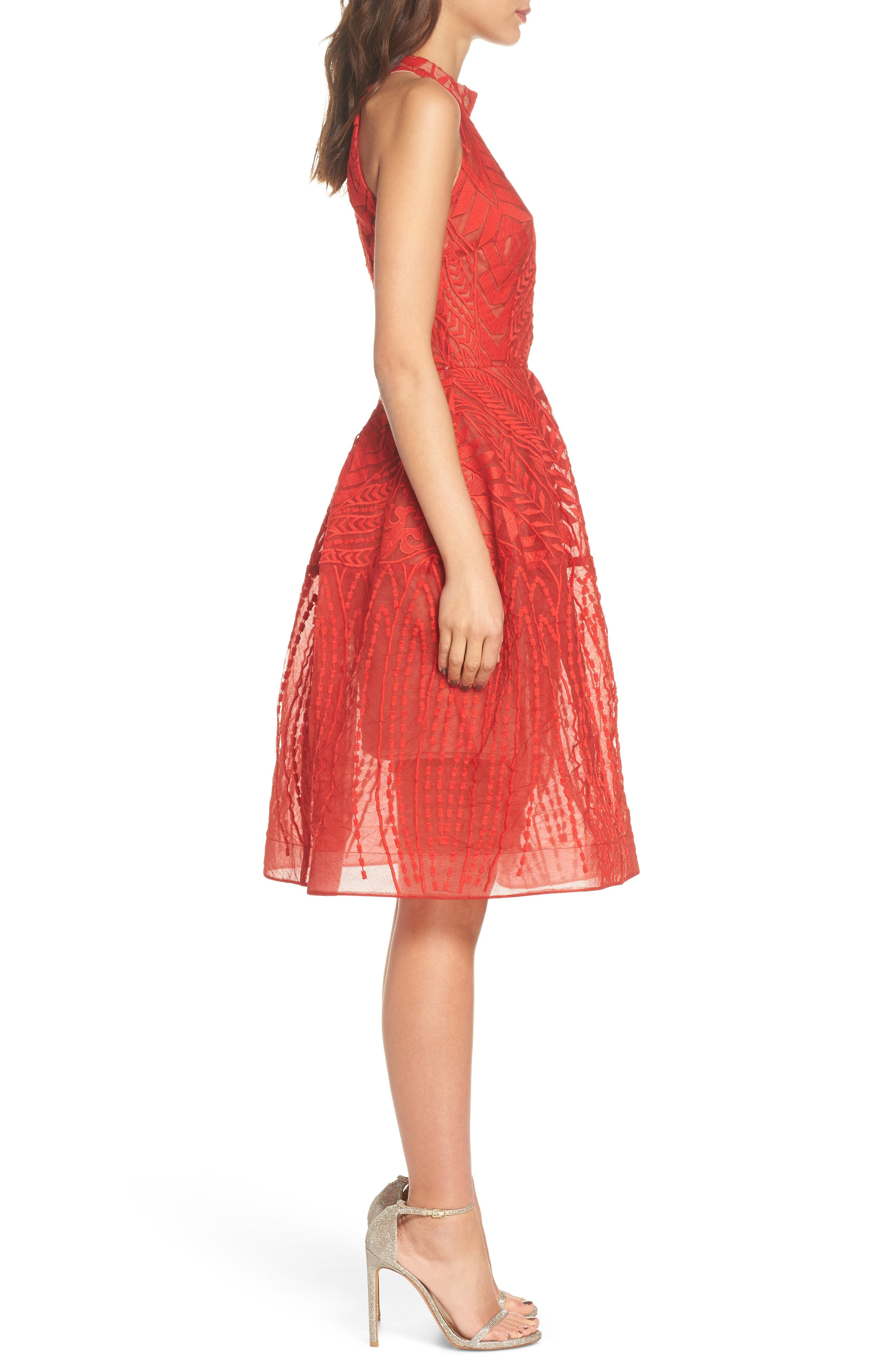 Notte Lace Fit & Flare Dress,                             Alternate thumbnail 3, color,                             Red