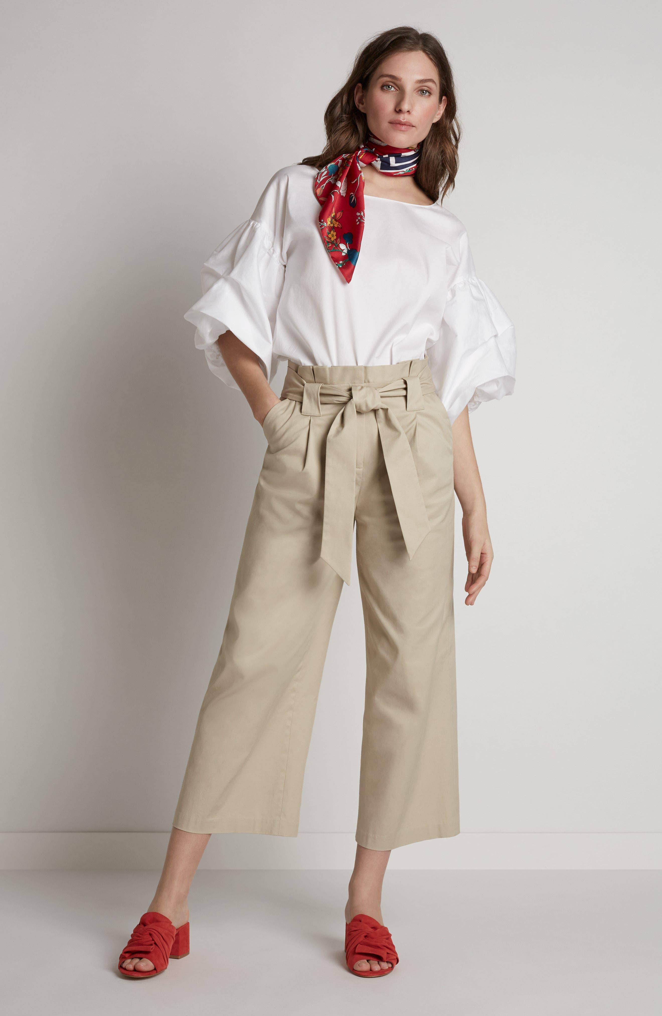 Paperbag Waist Belted Wide Leg Crop Pants,                             Alternate thumbnail 9, color,