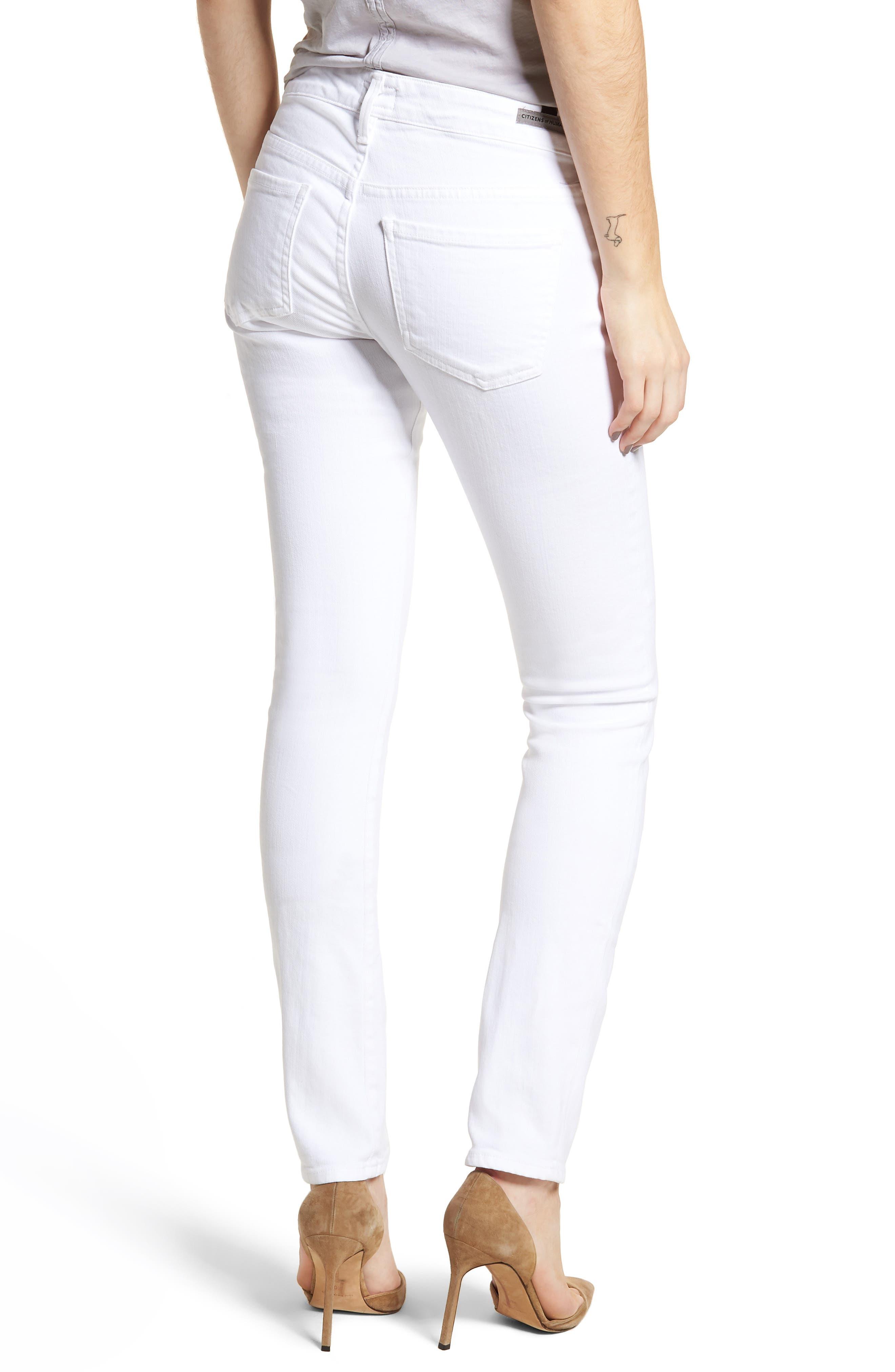Racer Skinny Jeans,                             Alternate thumbnail 2, color,                             Optic White