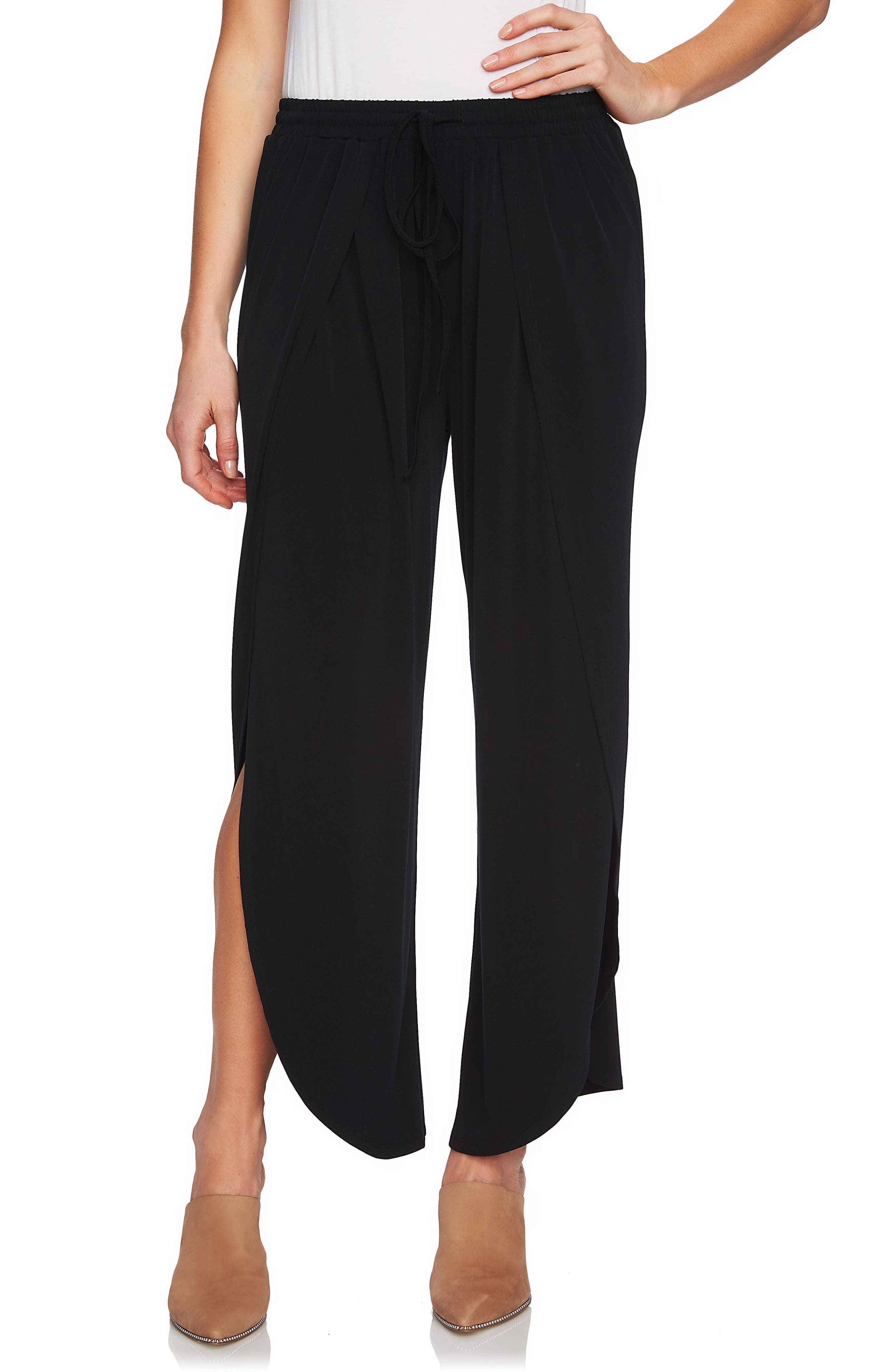 Wide Leg Envelope Hem Pants,                         Main,                         color, Rich Black