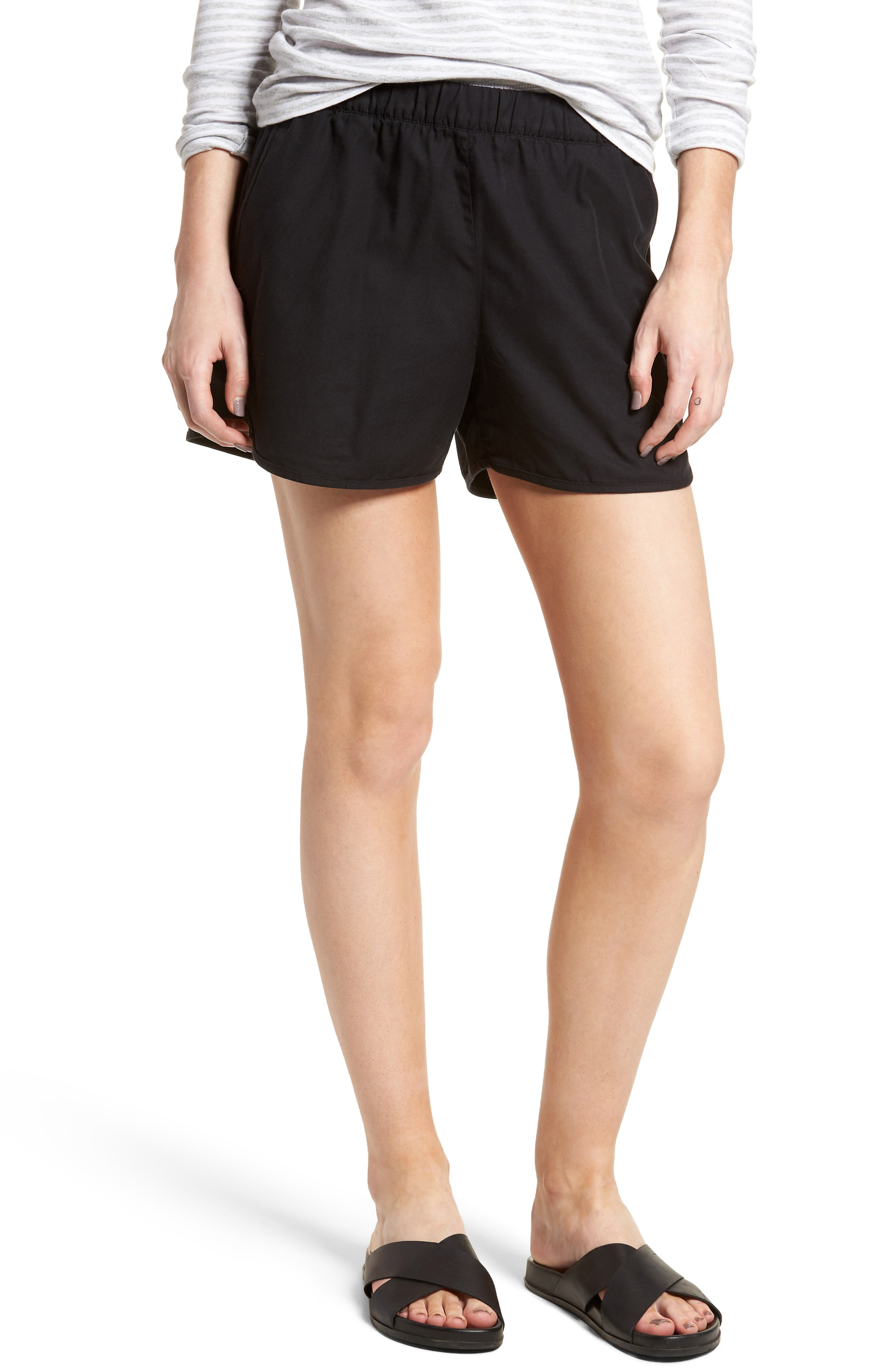 Pull-On Shorts,                             Main thumbnail 1, color,                             Almost Black