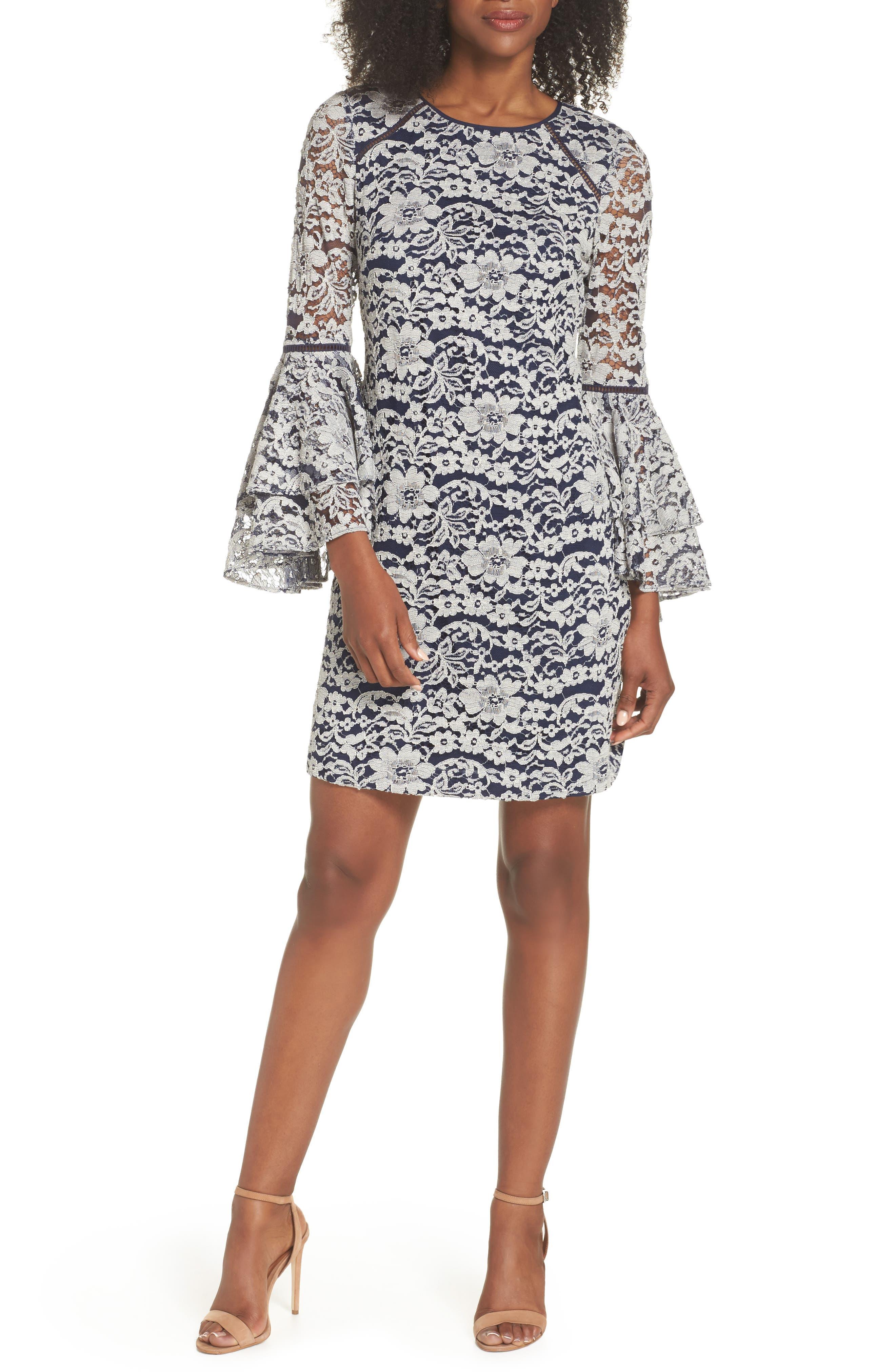 Chelsea28 Lace Bell Sleeve Shift Dress (Regular & Petite)