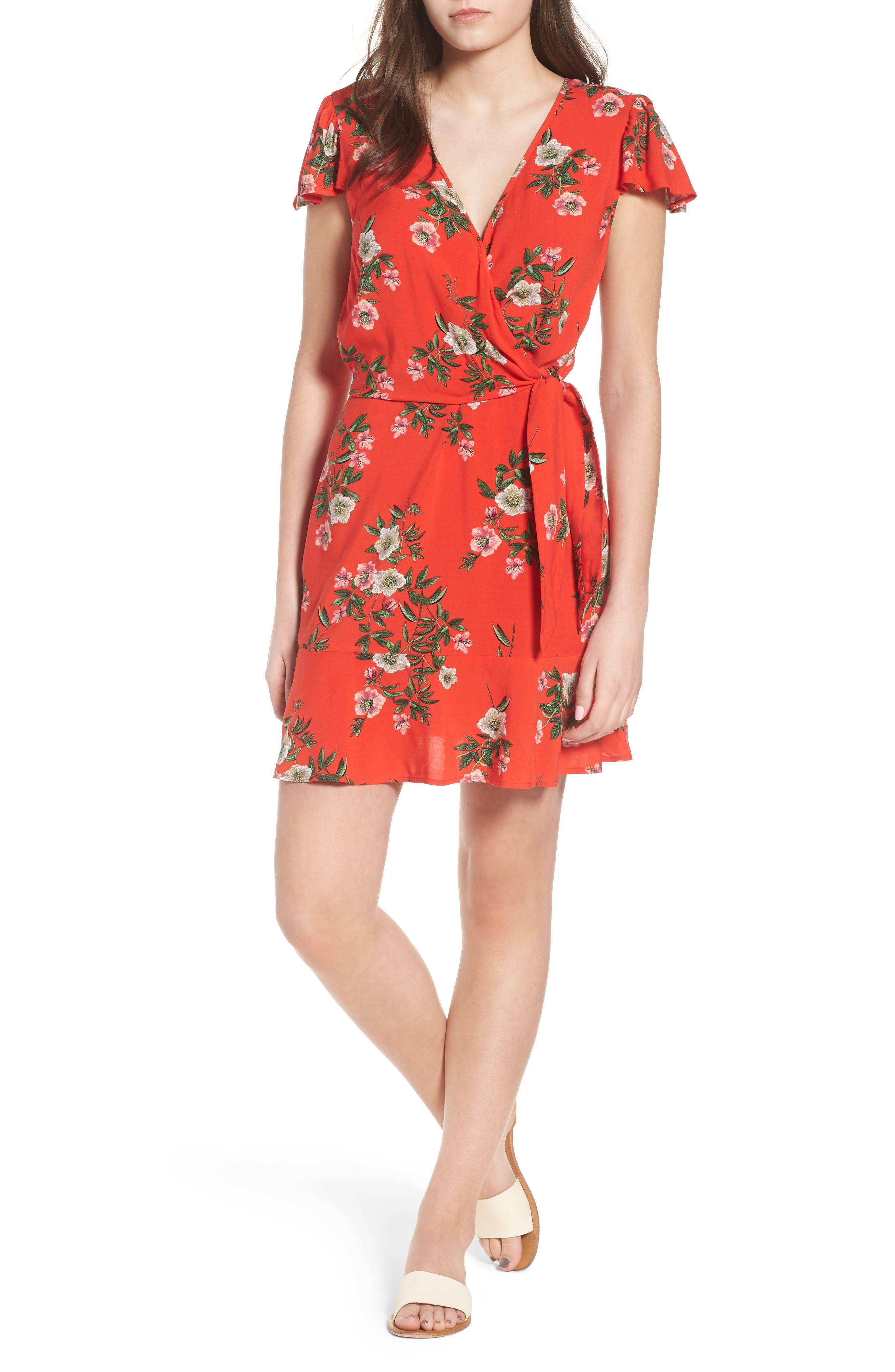 Floral Print Tie Waist Dress,                         Main,                         color, Red