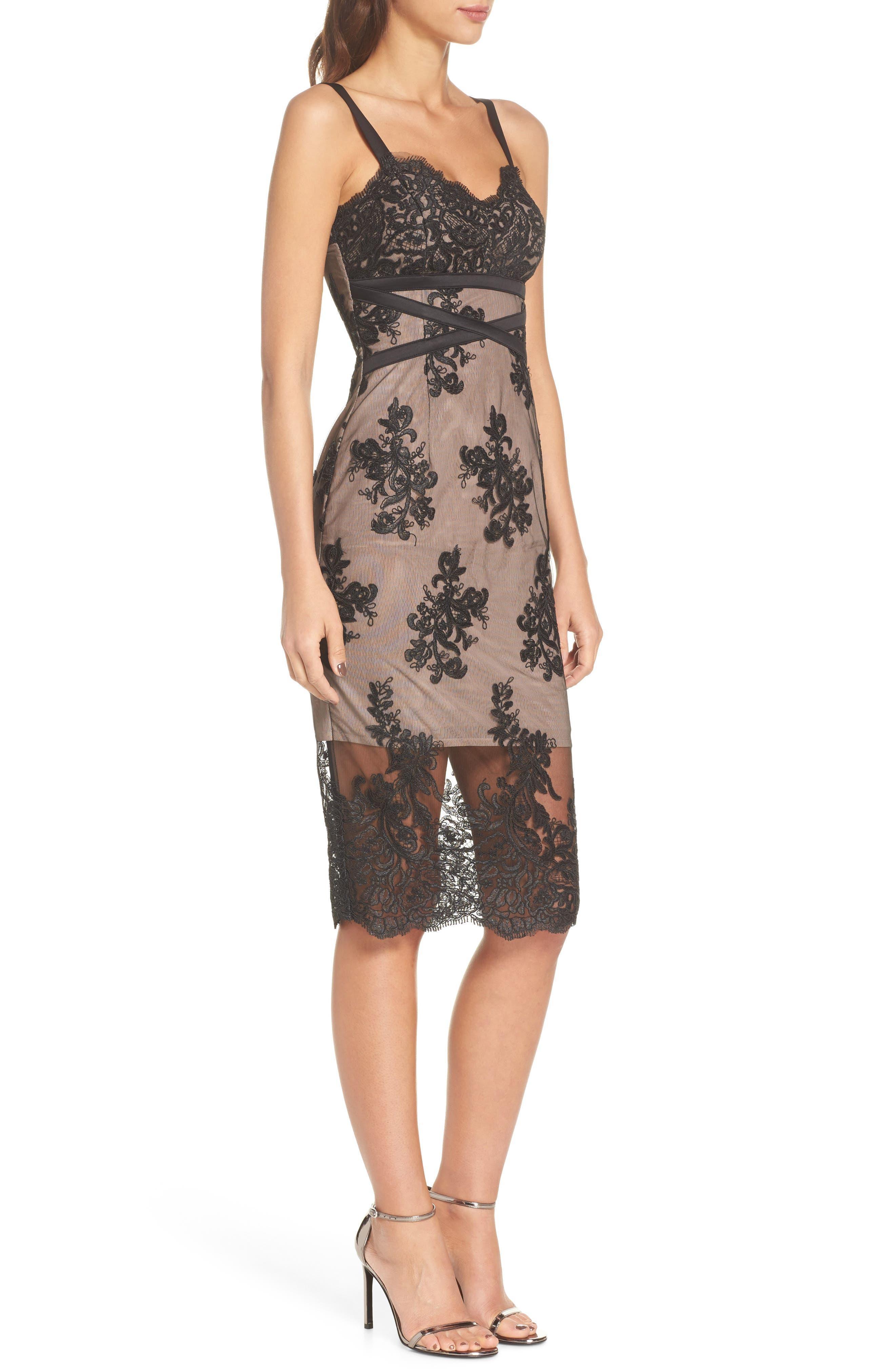 Camilla Lace Sheath Dress,                             Alternate thumbnail 3, color,                             Black