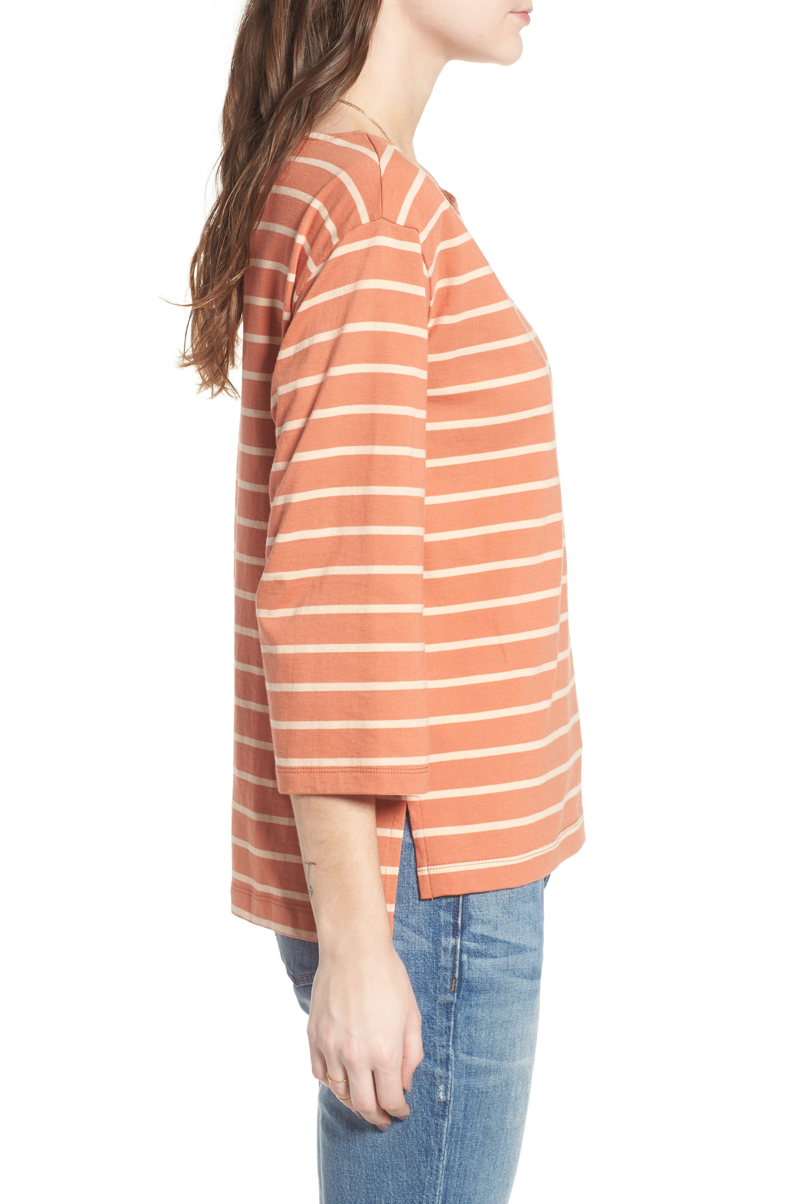 Stripe Boat Neck Top,                             Alternate thumbnail 3, color,                             Dried Coral