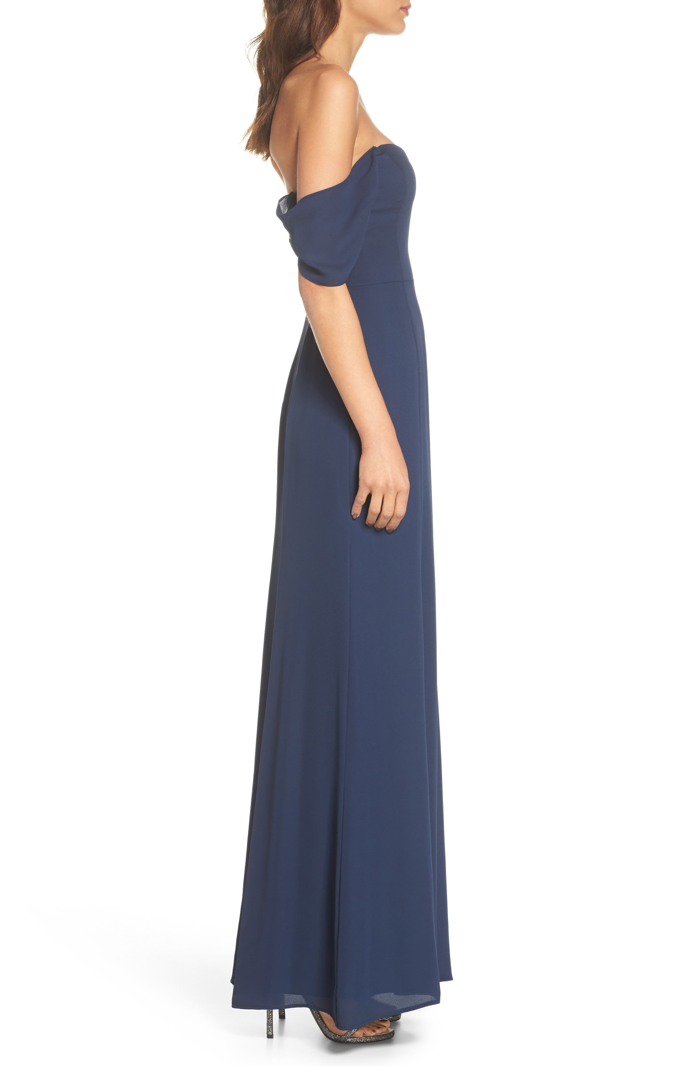 Rachel Off the Shoulder Gored Maxi Dress,                             Alternate thumbnail 3, color,                             Navy