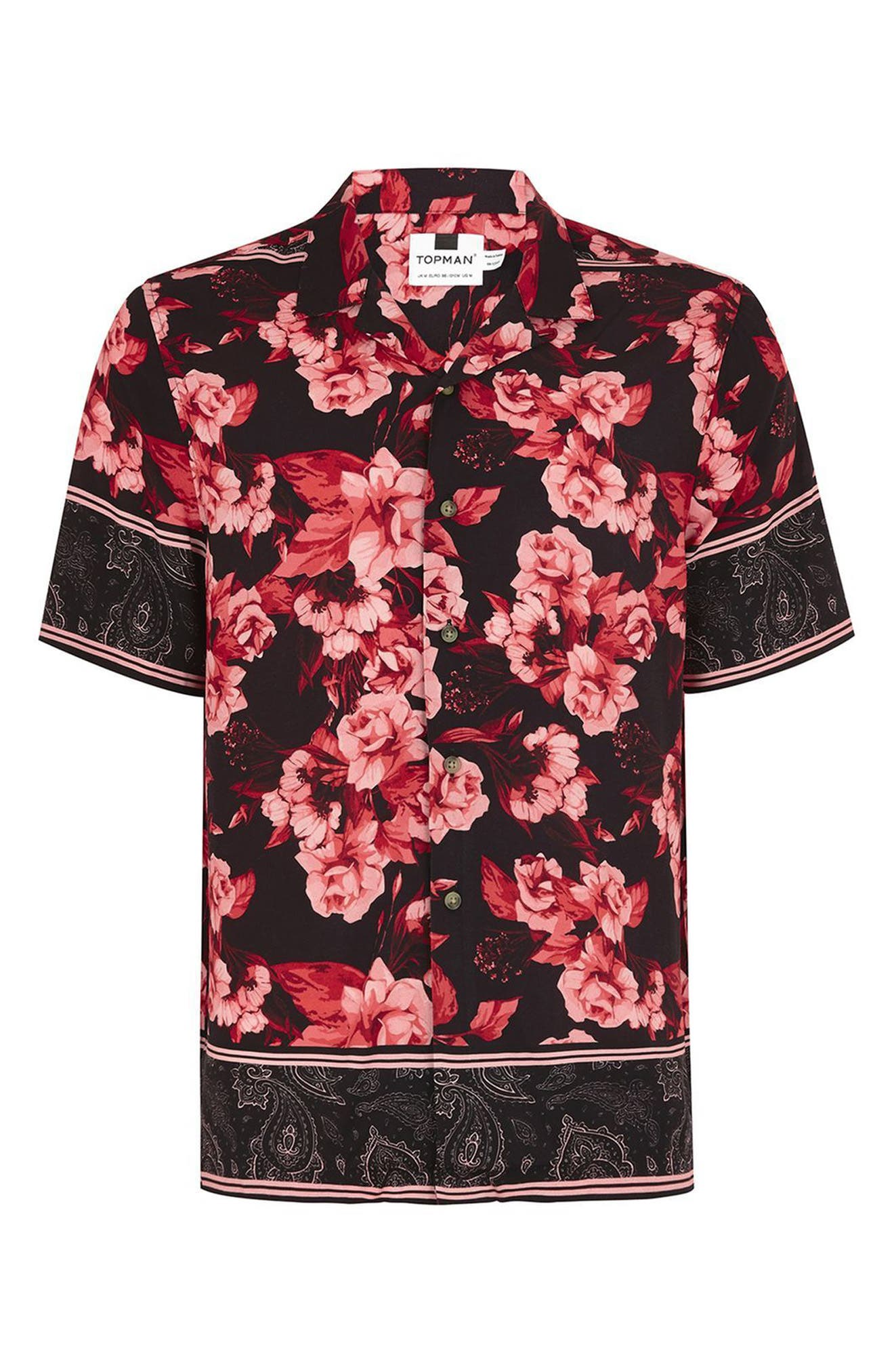 Floral Print Shirt,                             Alternate thumbnail 4, color,                             Red Multi
